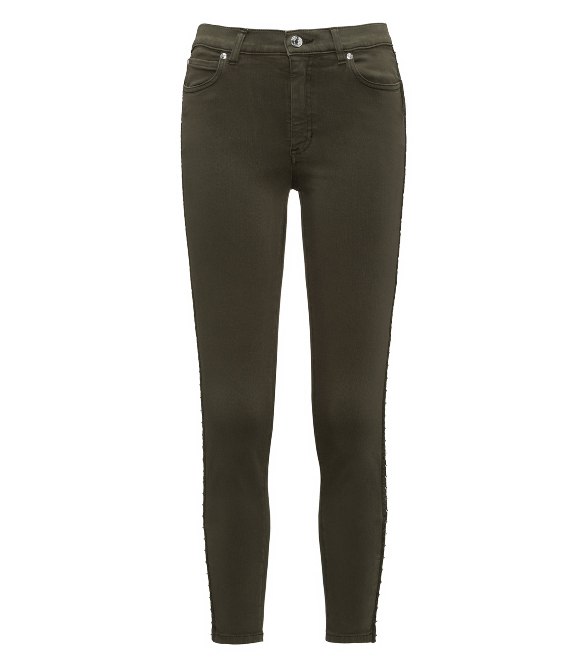 Skinny-fit denim jeans with hook-and-eye seams, Dark Green