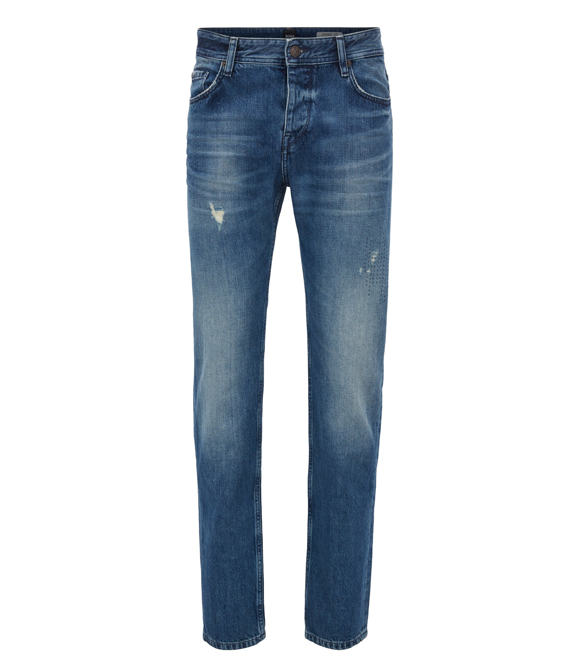 Tapered-fit jeans in dark-blue distressed denim, Dark Blue