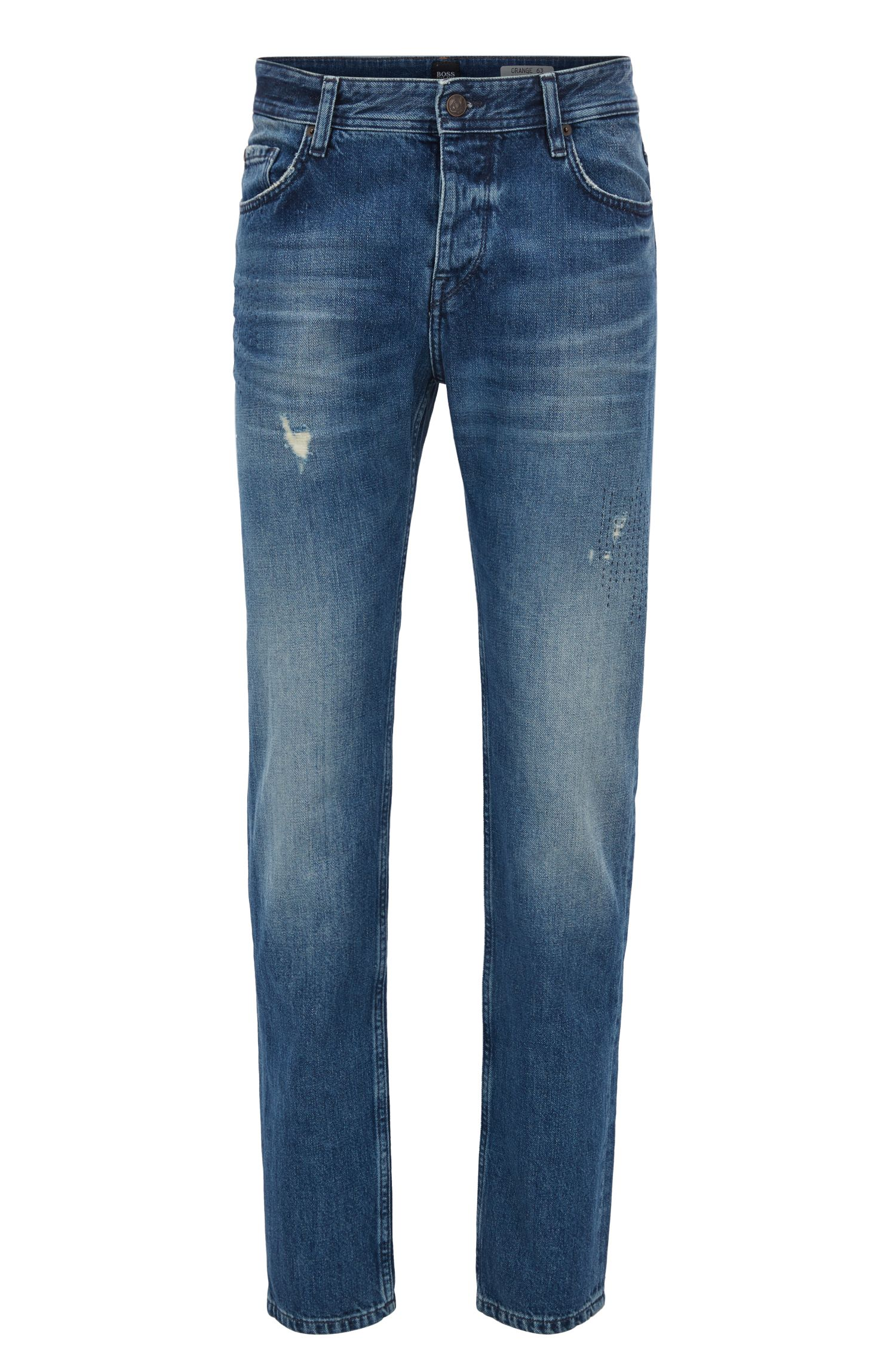 Tapered-fit jeans in dark-blue distressed denim