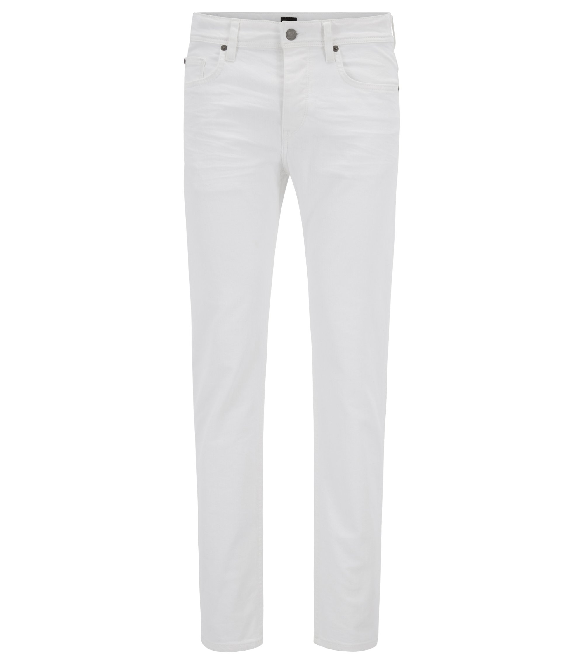 Jeans tapered fit in denim elasticizzato bianco panna, Bianco