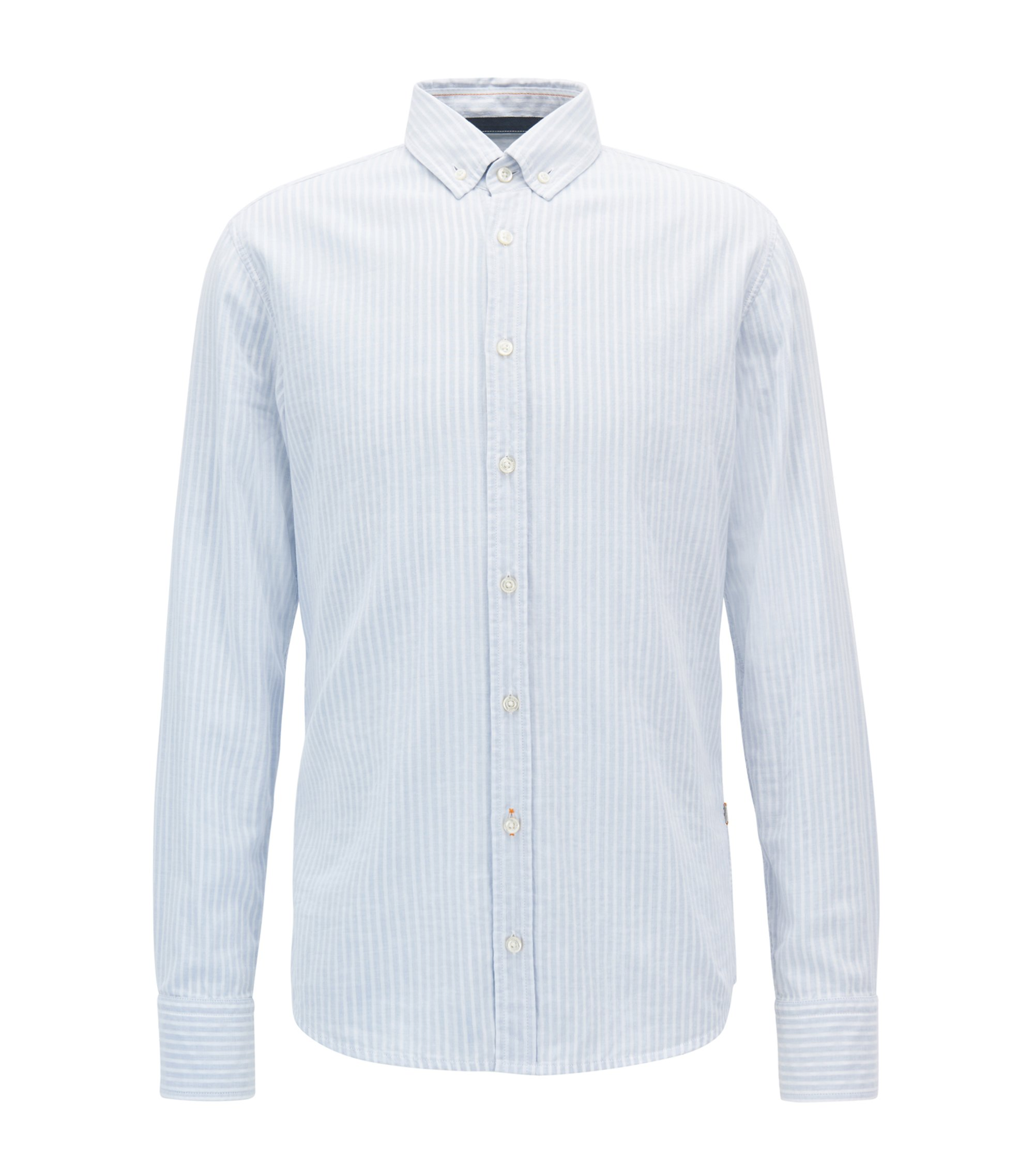 Slim-fit two-layer striped cotton shirt , Light Blue