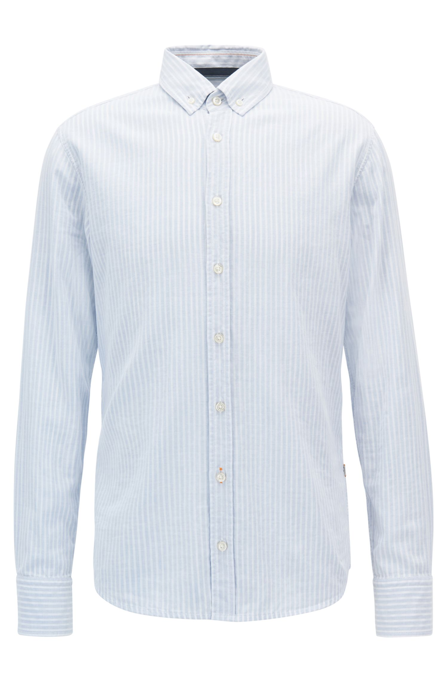 Slim-fit two-layer striped cotton shirt