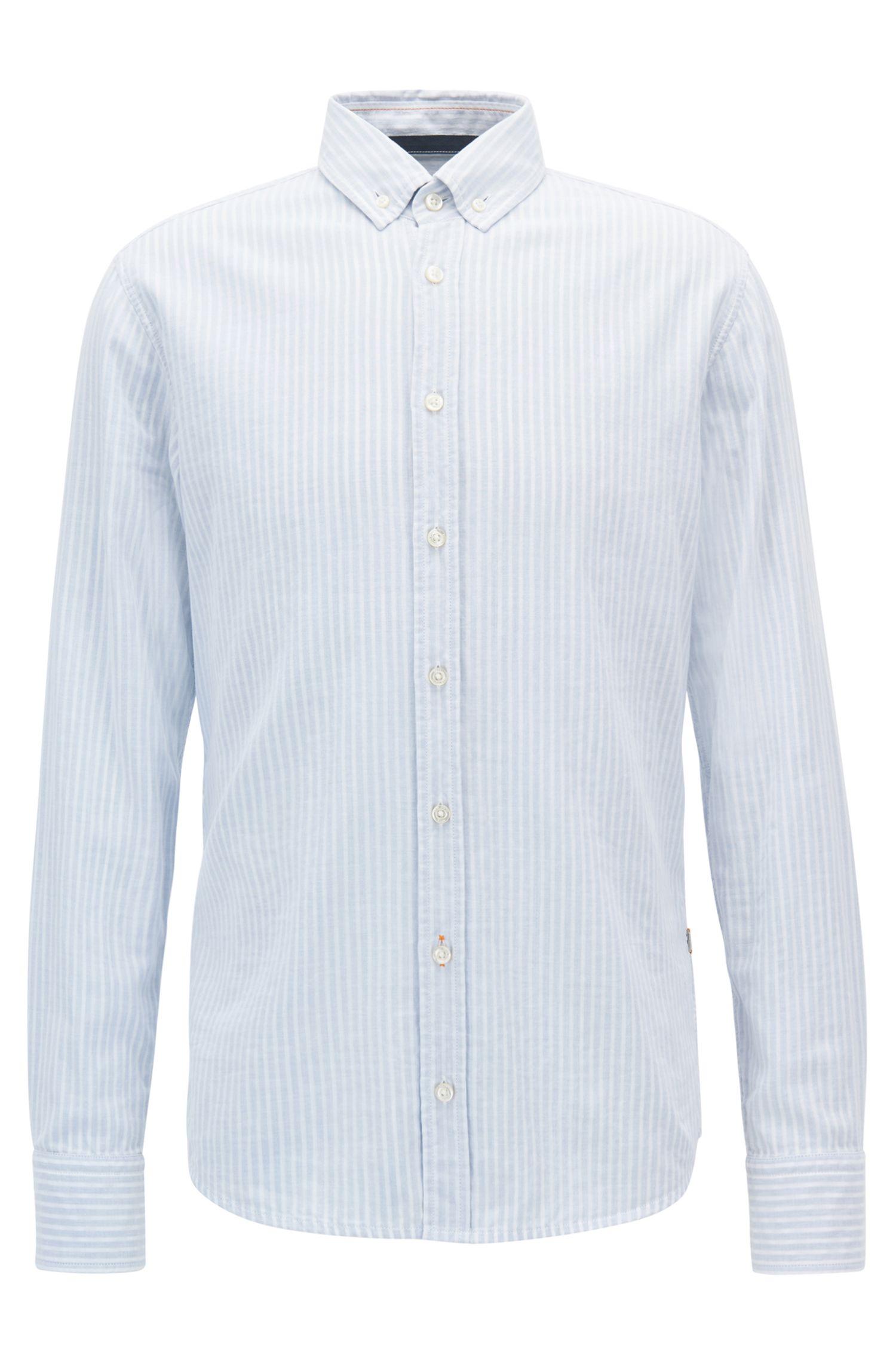 Camicia slim fit in cotone a righe a doppio strato