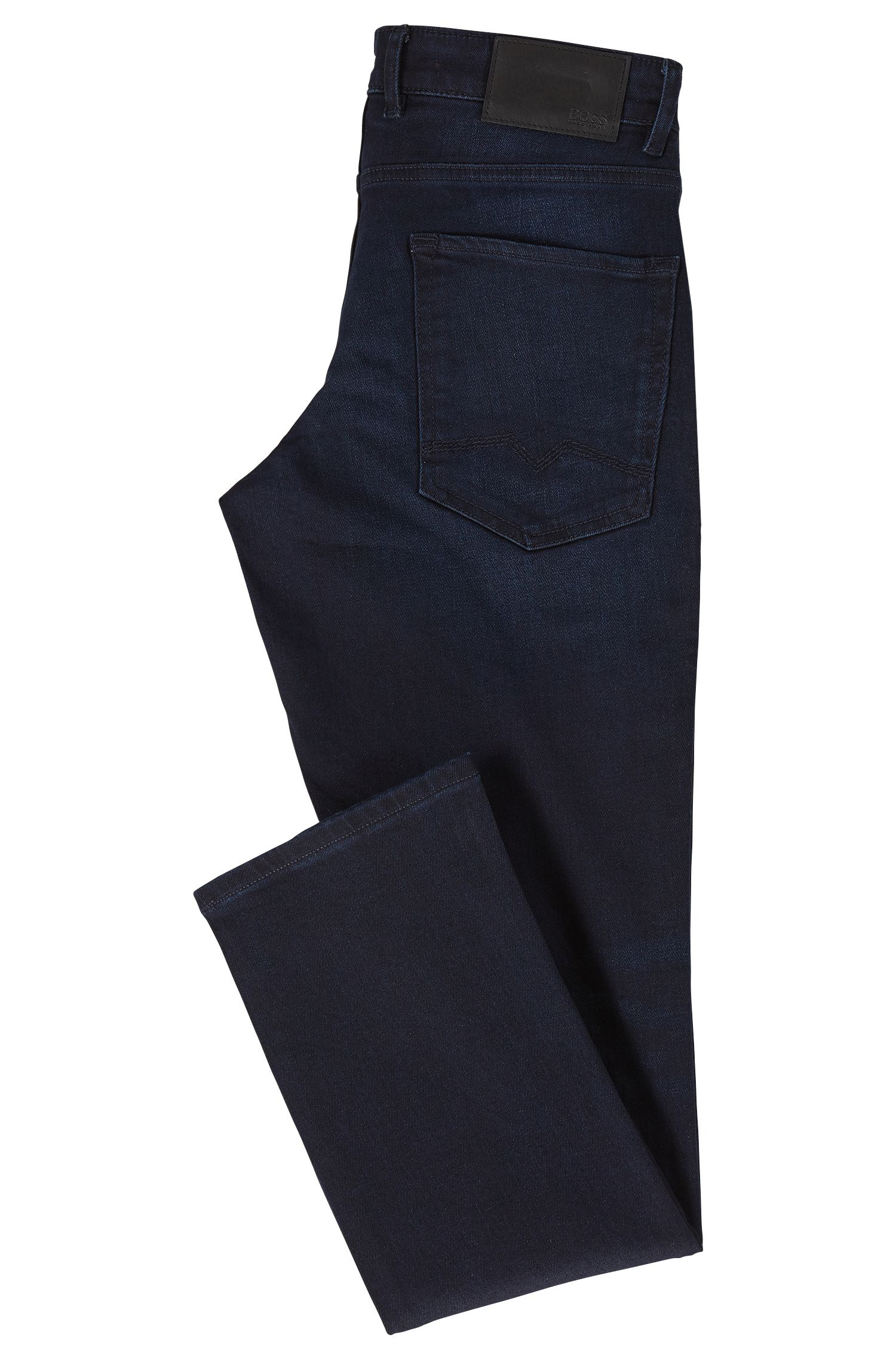 Distressed blue-black comfort stretch denim jeans in a regular fit BOSS