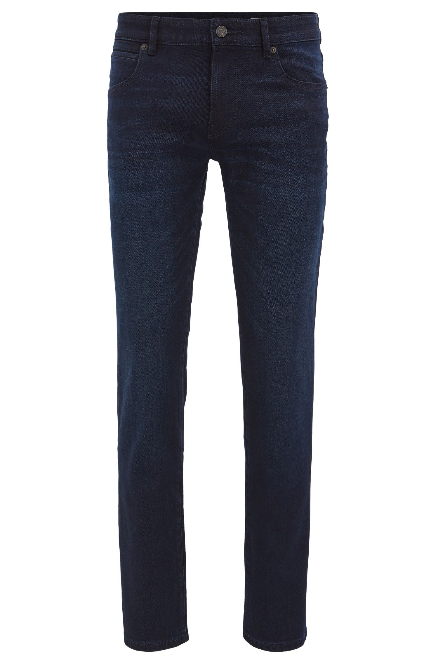 Jean Regular Fit en confortable denim stretch bleu-noir délavé