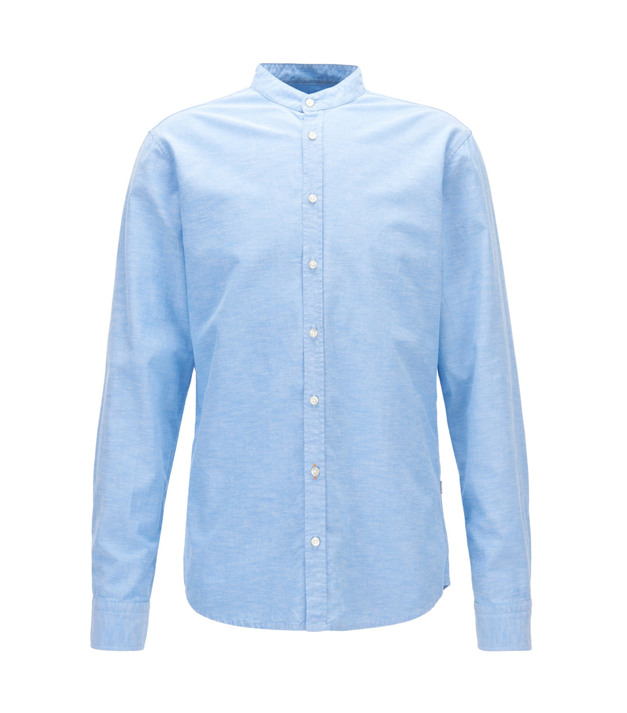 Camicia regular fit in cotone Oxford con colletto alla coreana, Celeste