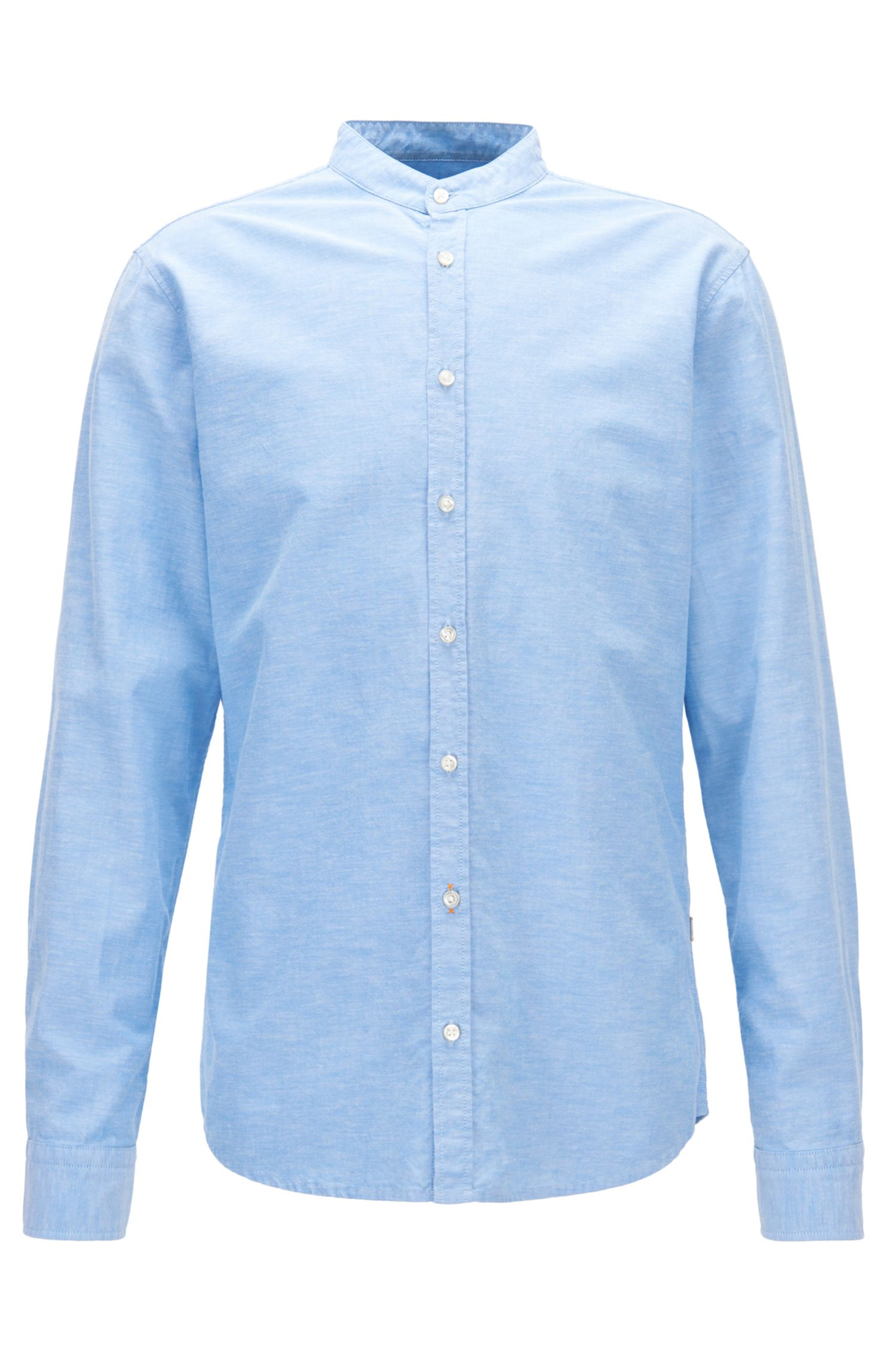 Camisa regular fit de algodón Oxford con cuello mao