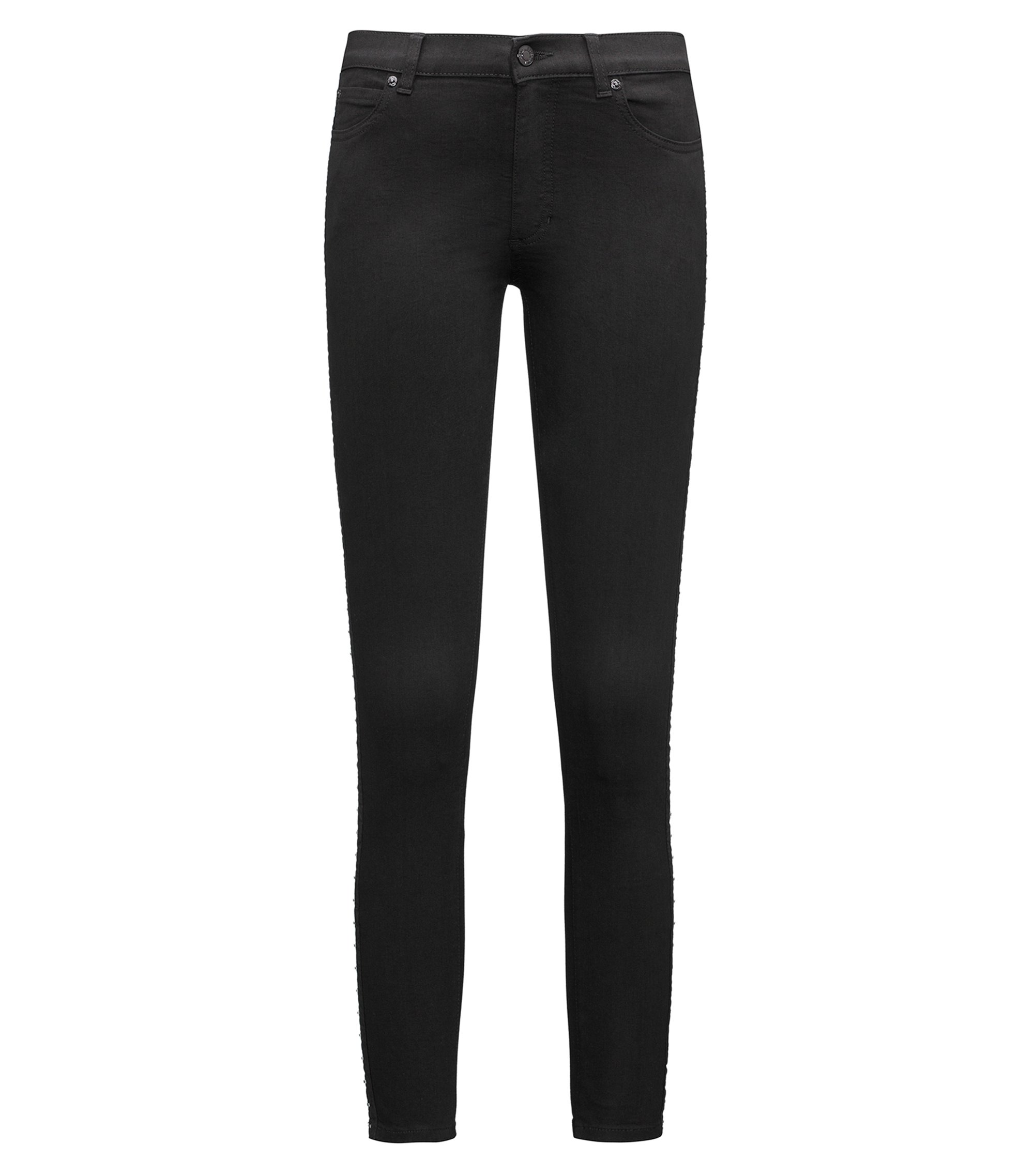 Skinny-fit jeans with hook-and-eye sides, Black