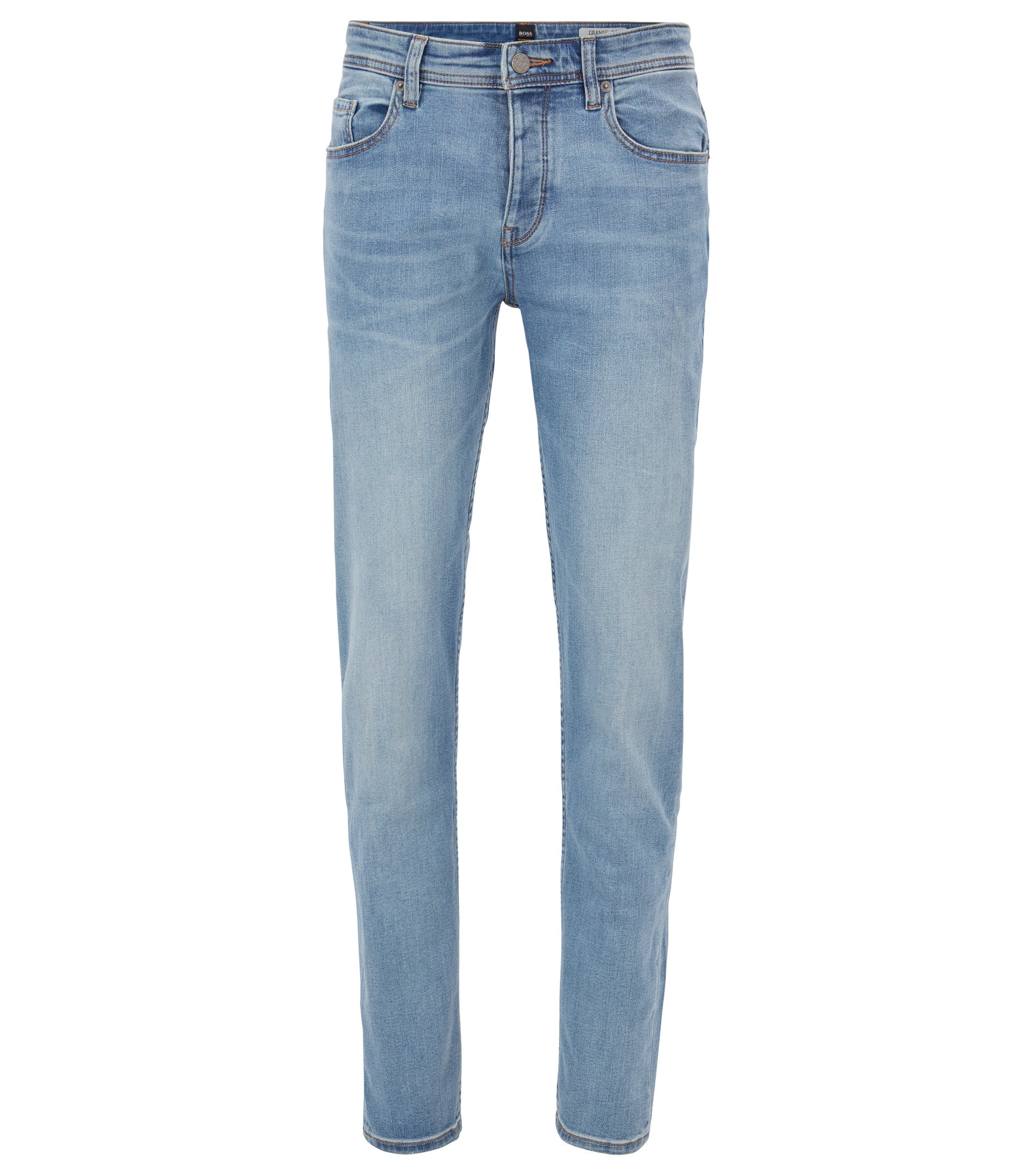 Jean Tapered Fit en denim super stretch, Bleu