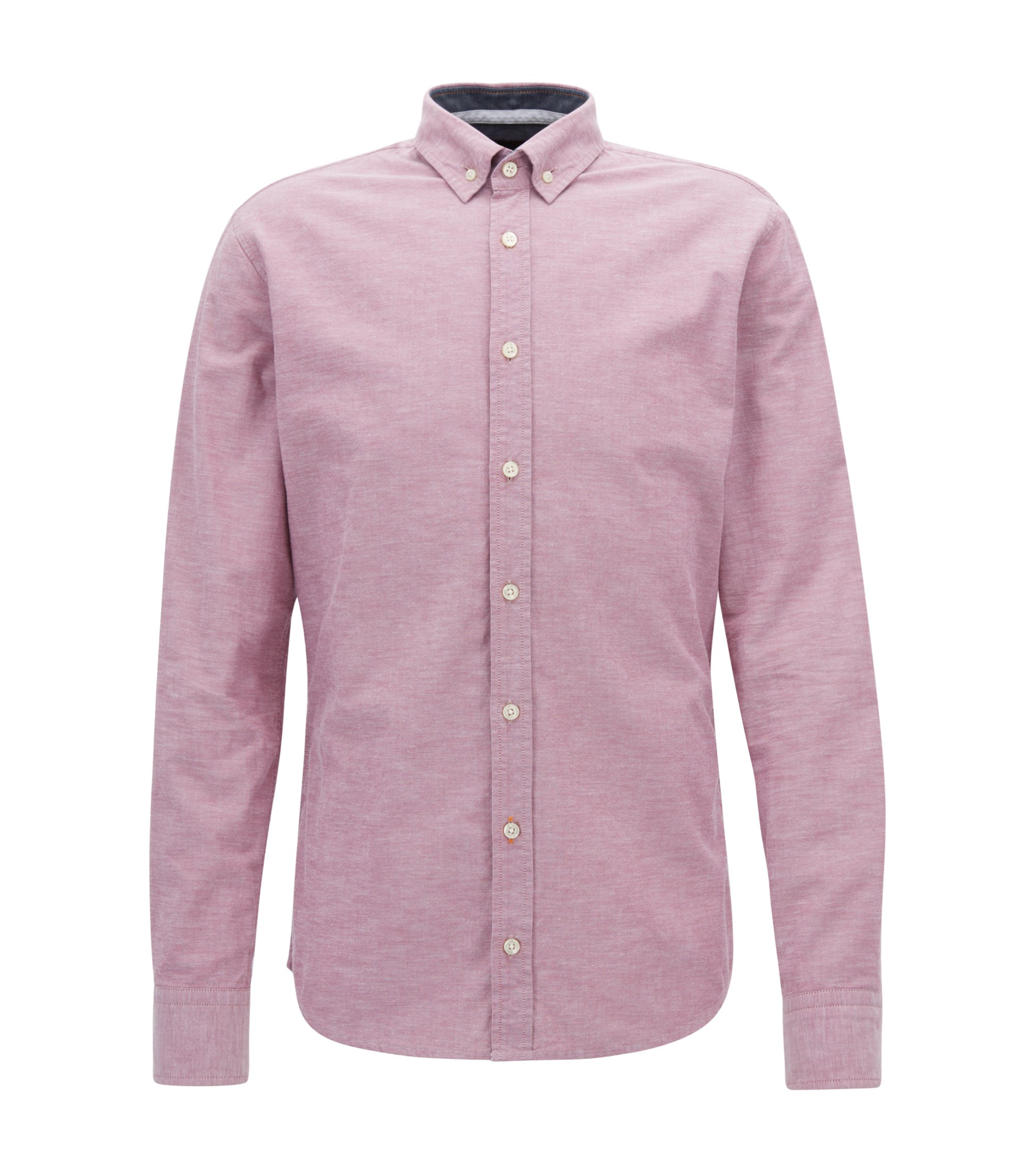 Slim-fit Oxford shirt in peached panama cotton, Purple