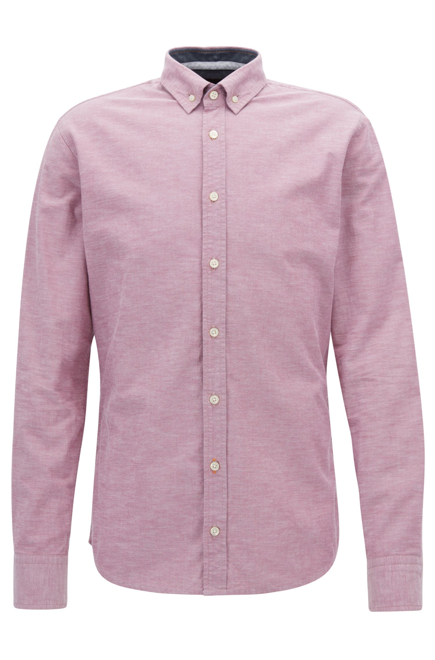 Slim-fit Oxford shirt in peached panama cotton