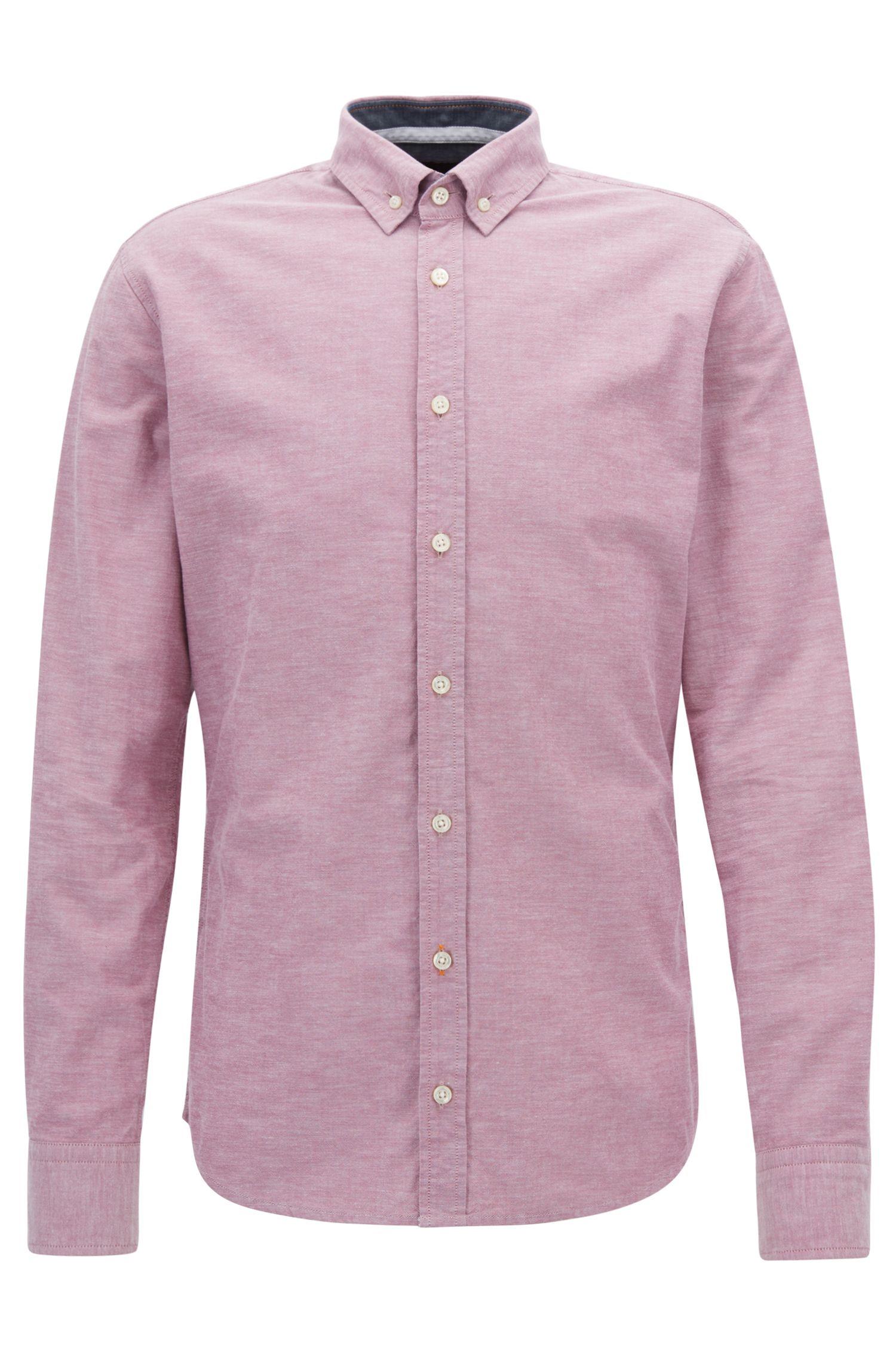 Camicia stile oxford slim fit in cotone panama manopesca