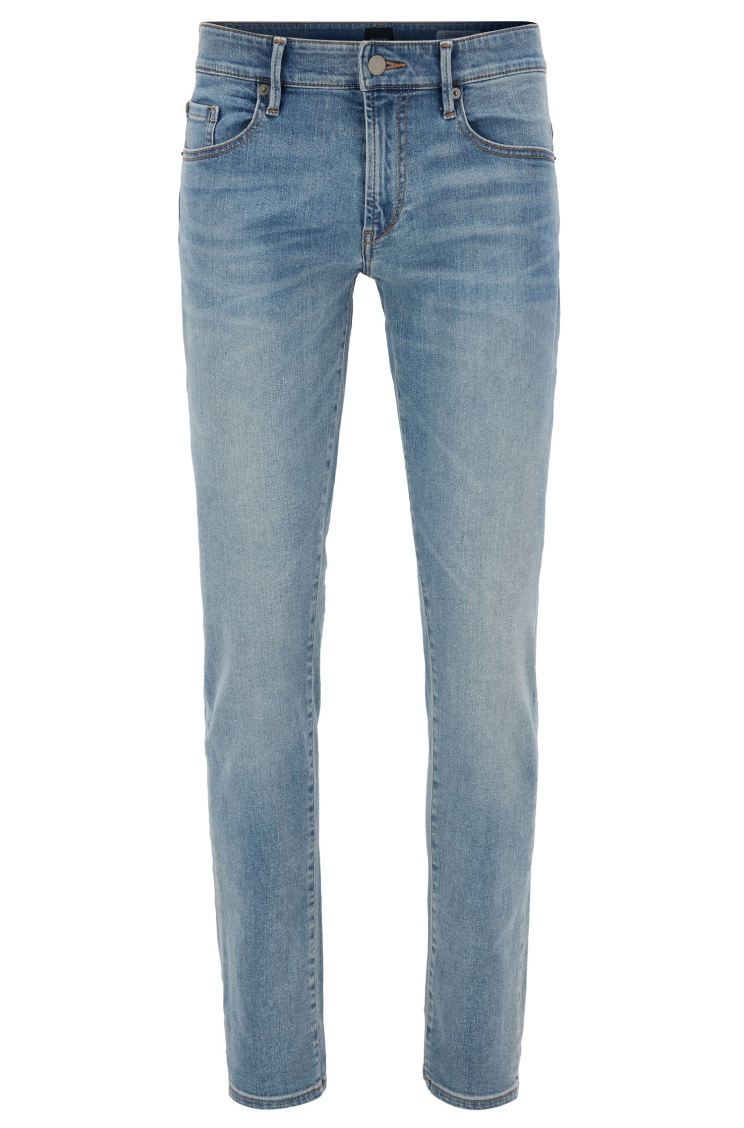Skinny-fit jeans van felblauw super-stretchdenim