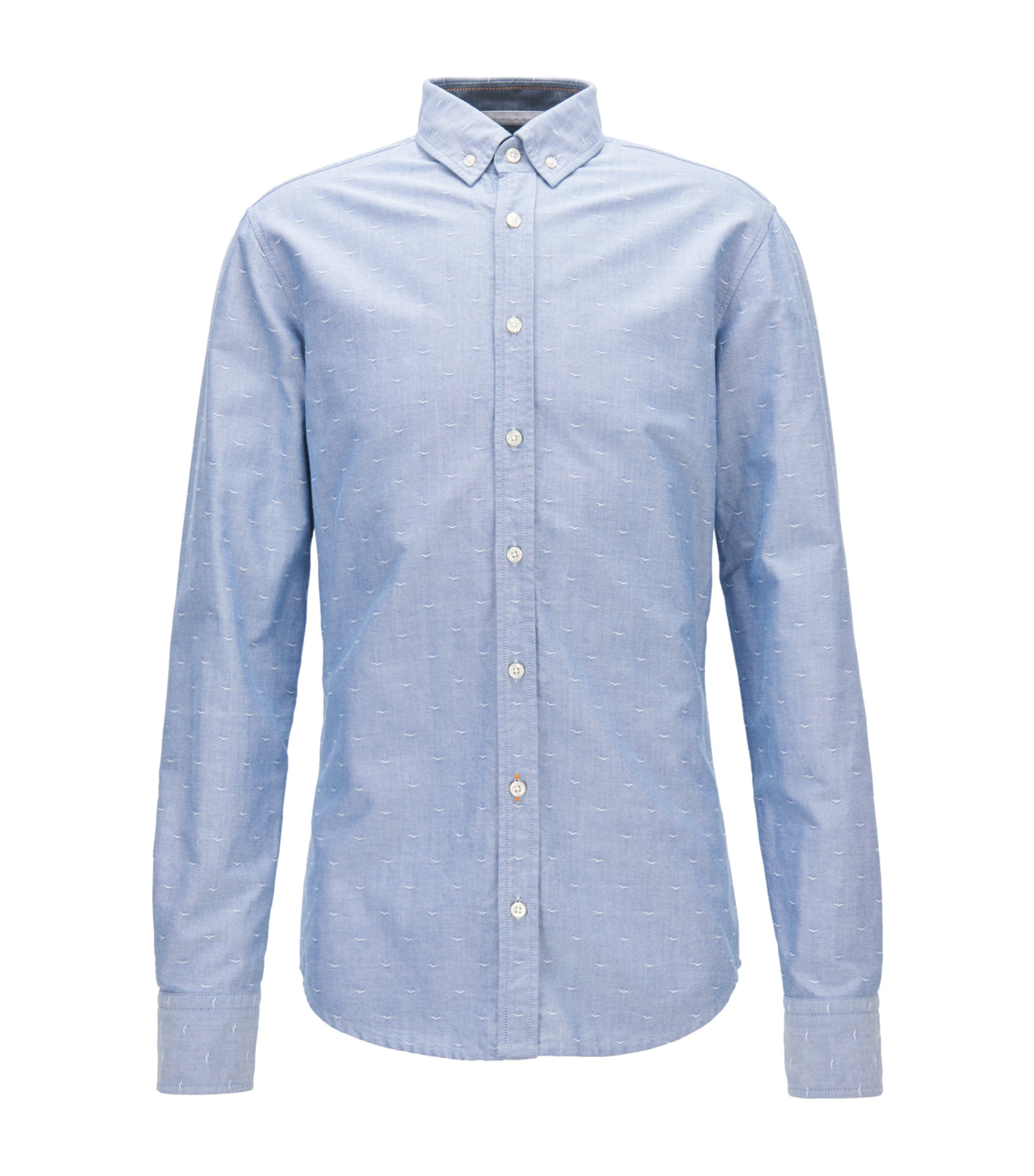 Camicia slim fit in cotone dobby Oxford, Celeste