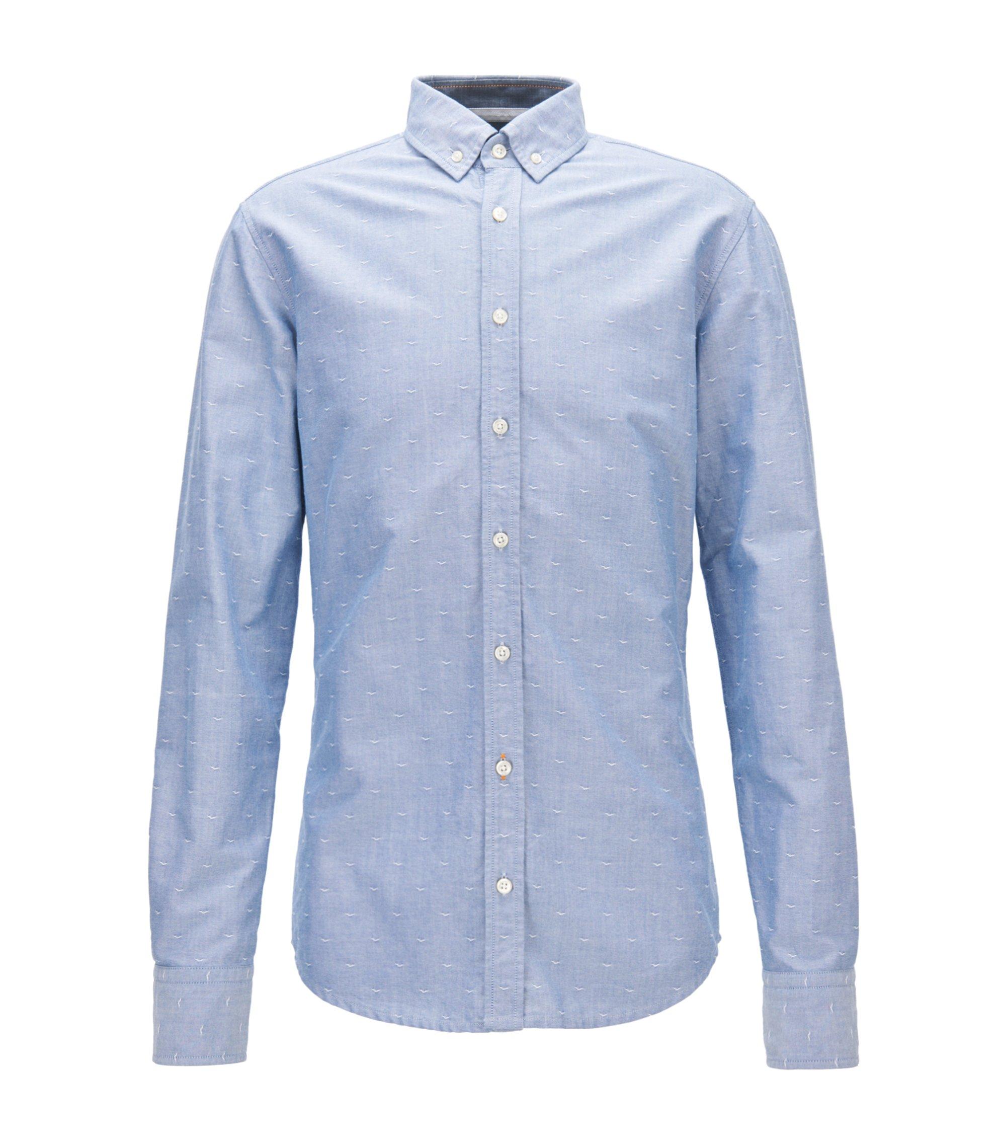 Slim-Fit Hemd aus strukturierter Oxford-Baumwolle, Hellblau