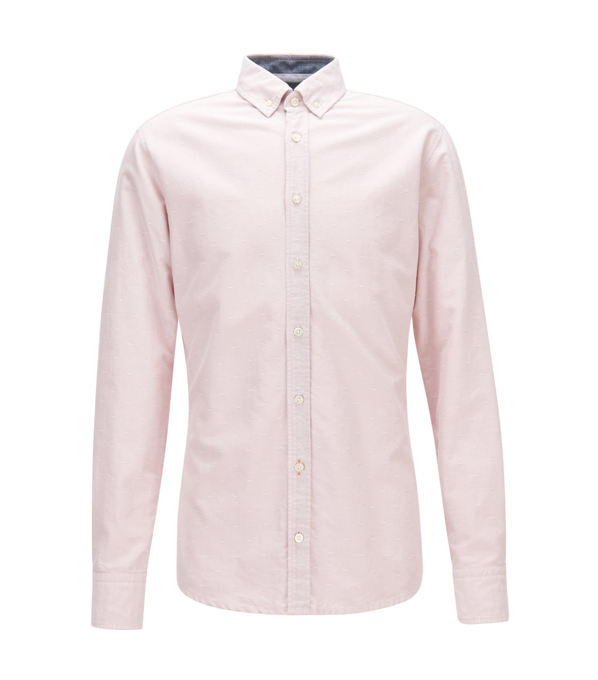 Slim-fit shirt in dobby Oxford cotton, light pink