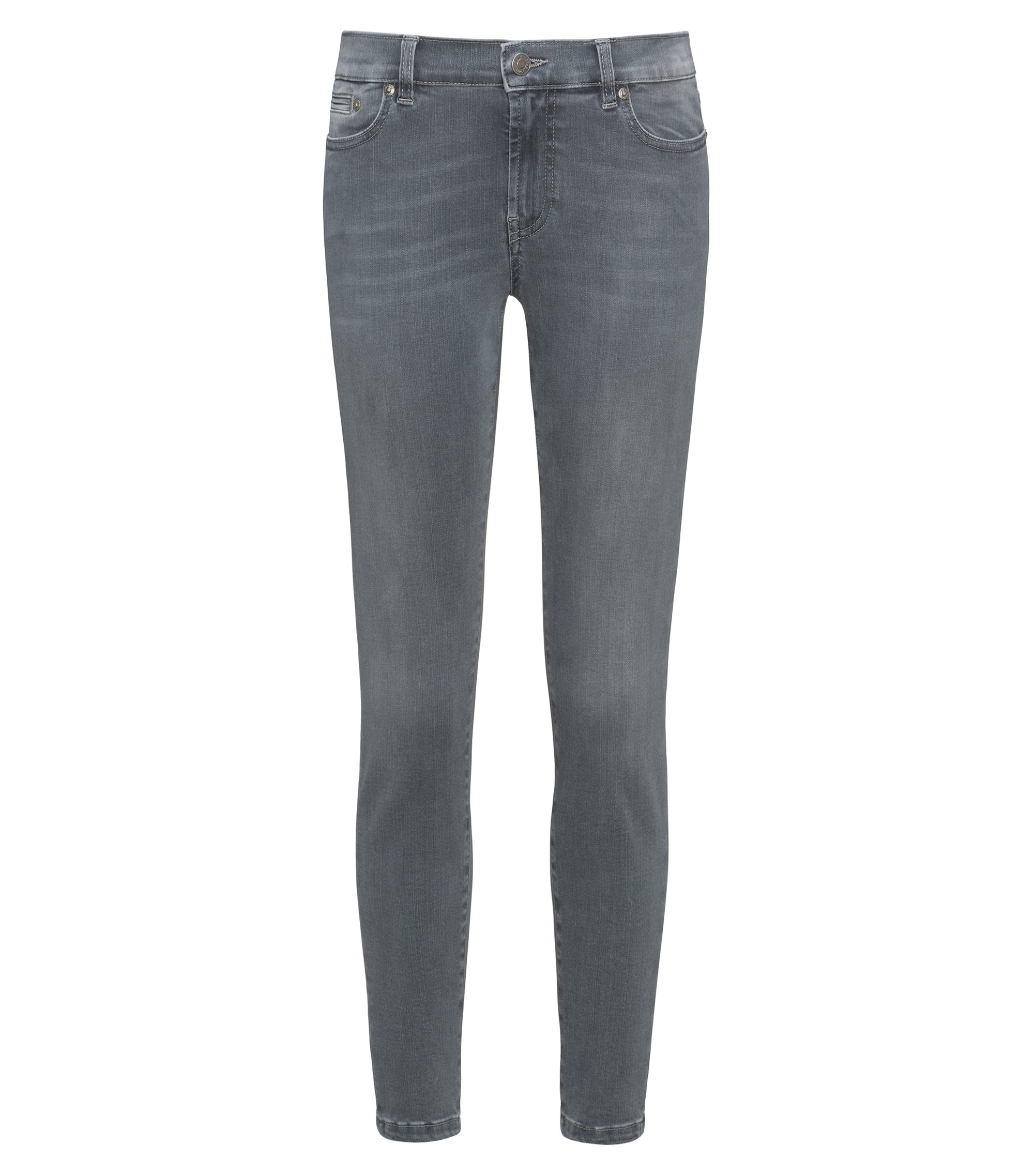 Skinny-fit jeans in super-stretch grey denim, Grey