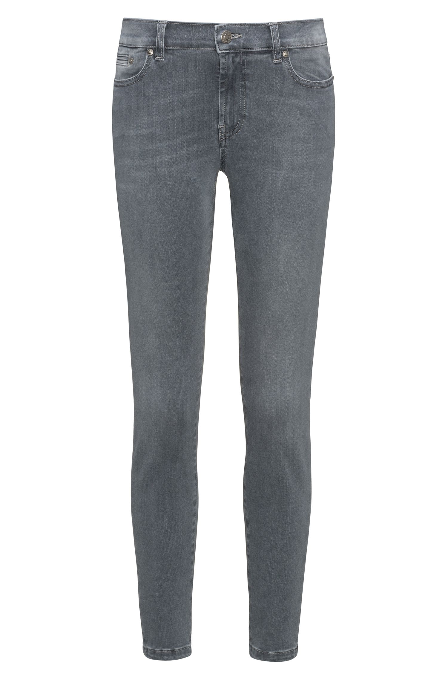 Skinny-fit jeans in super-stretch grey denim