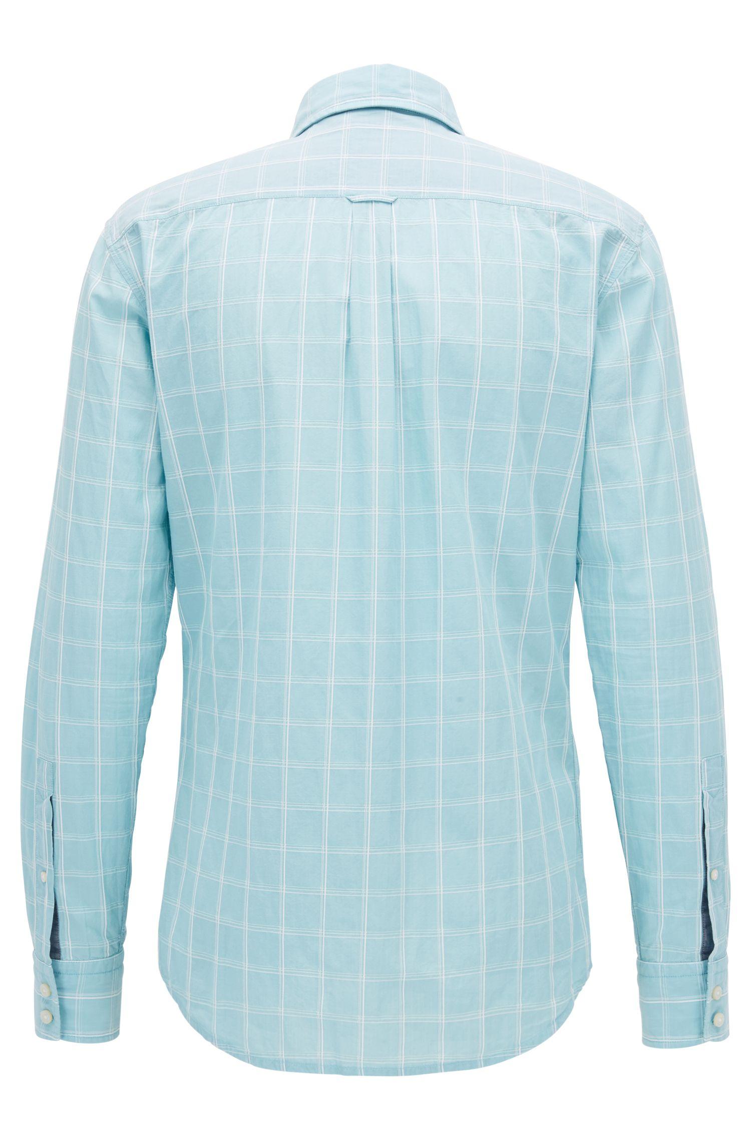 Slim-fit shirt in Glen-check dobby cotton