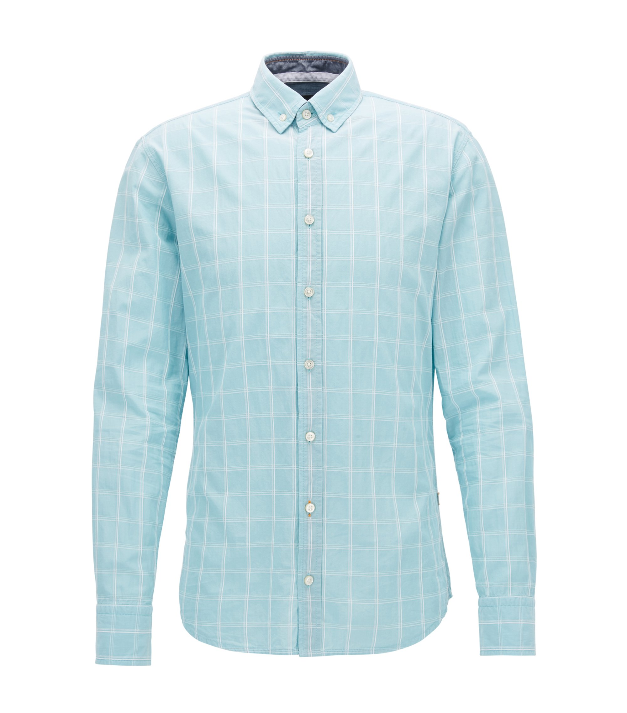 Camisa slim fit en algodón de tejido dobby con estampado Príncipe de Gales, Turquesa