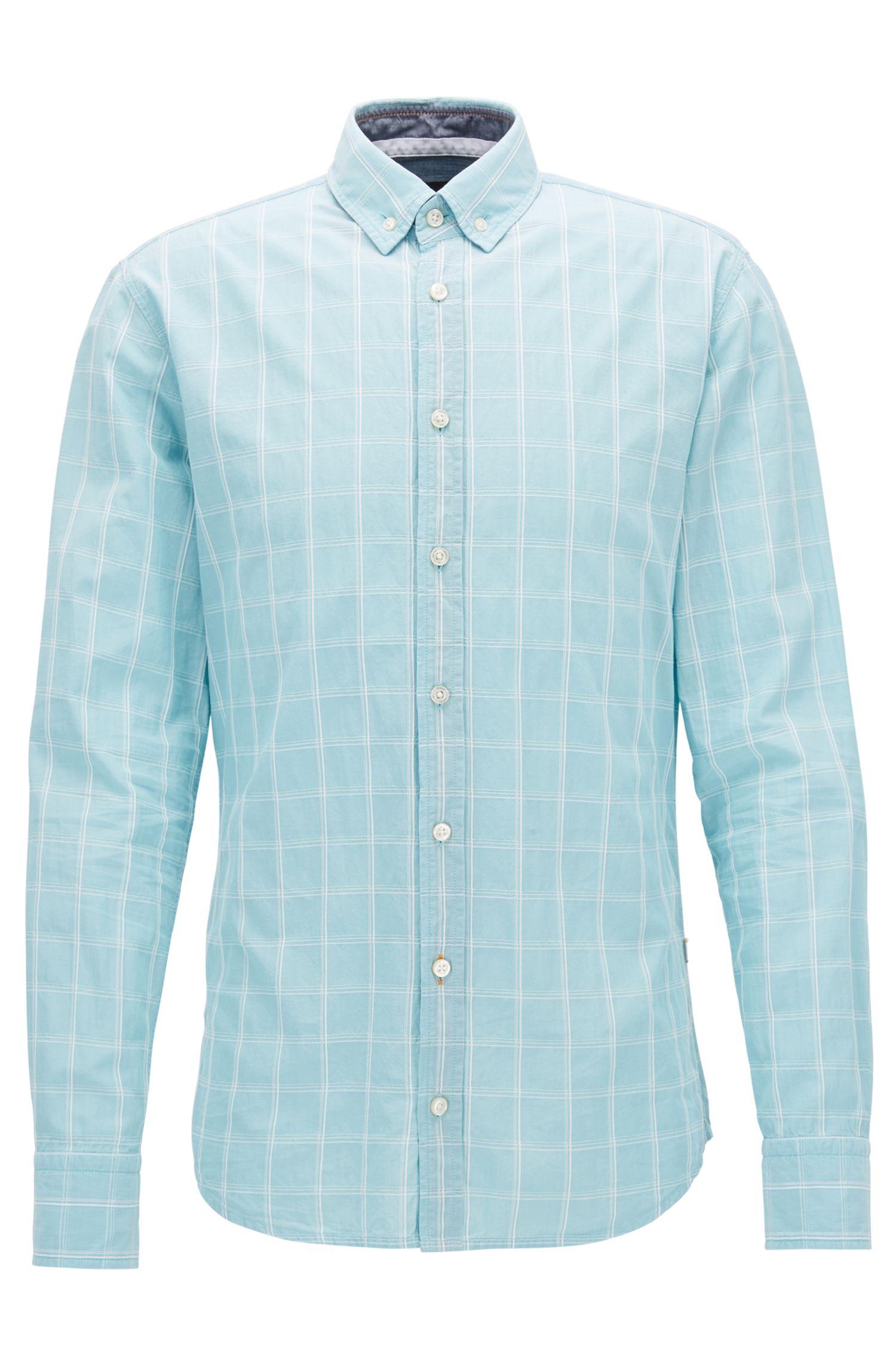 Camisa slim fit en algodón de tejido dobby con estampado Príncipe de Gales