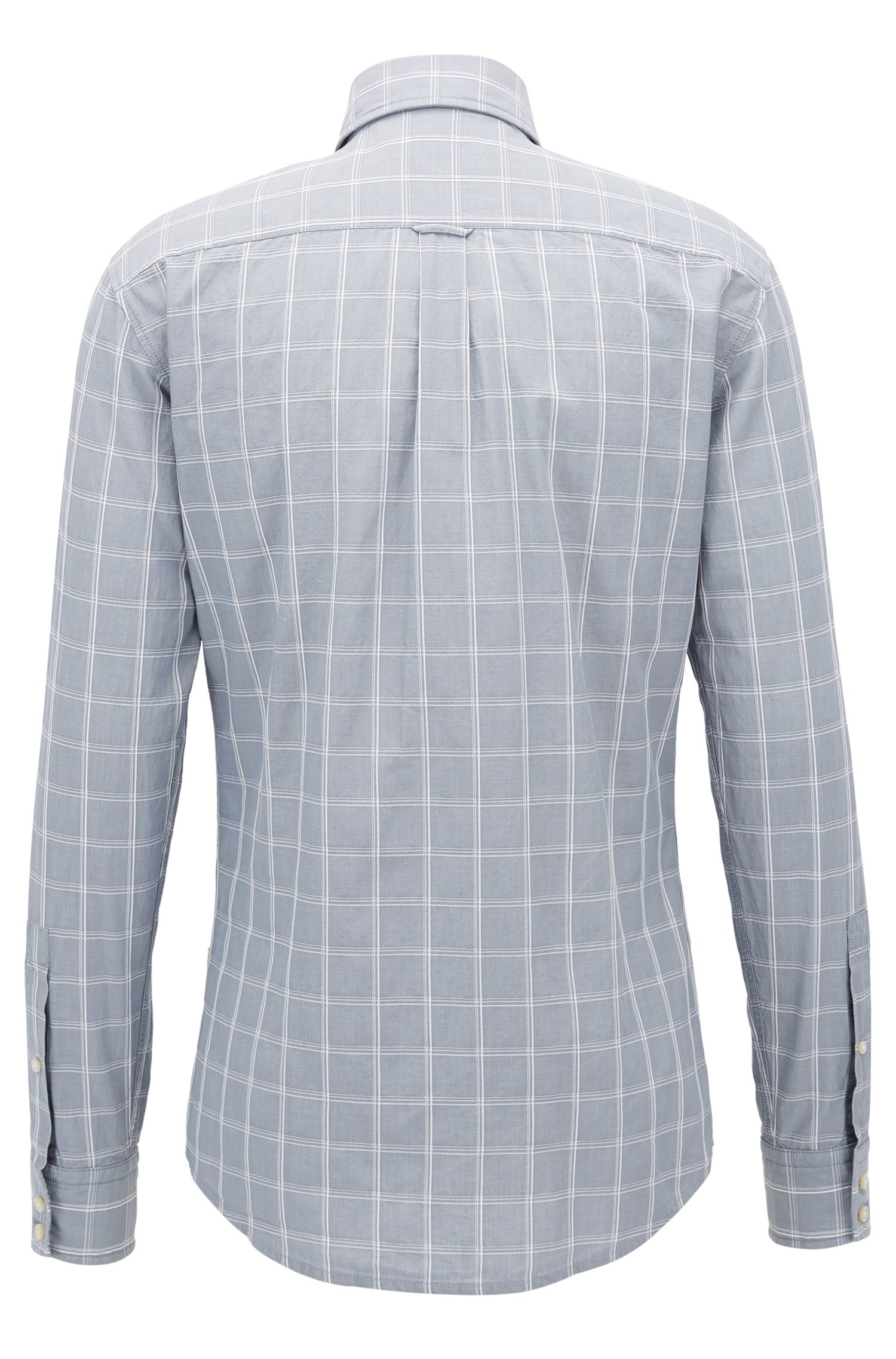 Slim-Fit Hemd aus strukturierter Baumwolle mit Glencheck-Muster