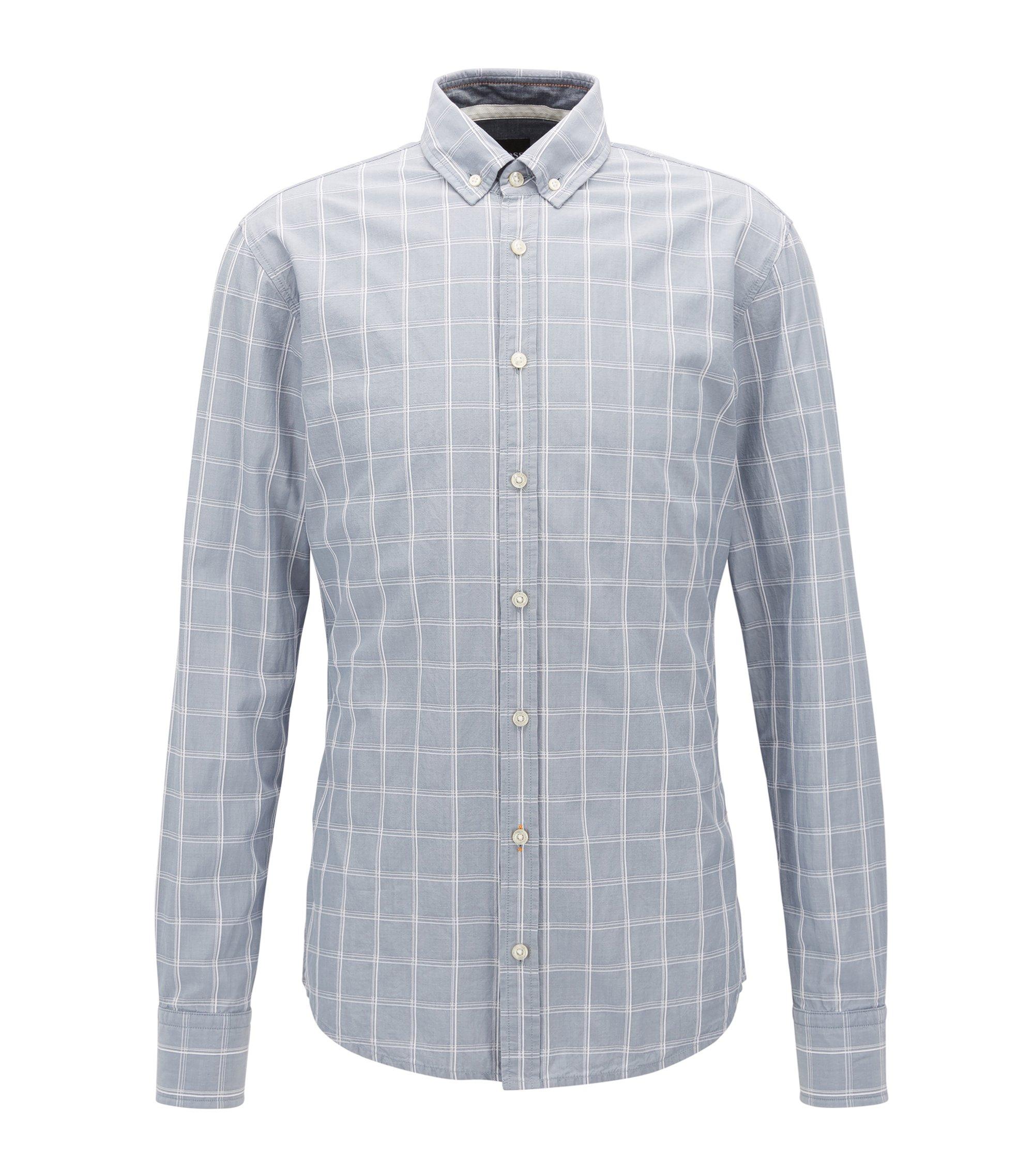 Slim-Fit Hemd aus strukturierter Baumwolle mit Glencheck-Muster, Blau