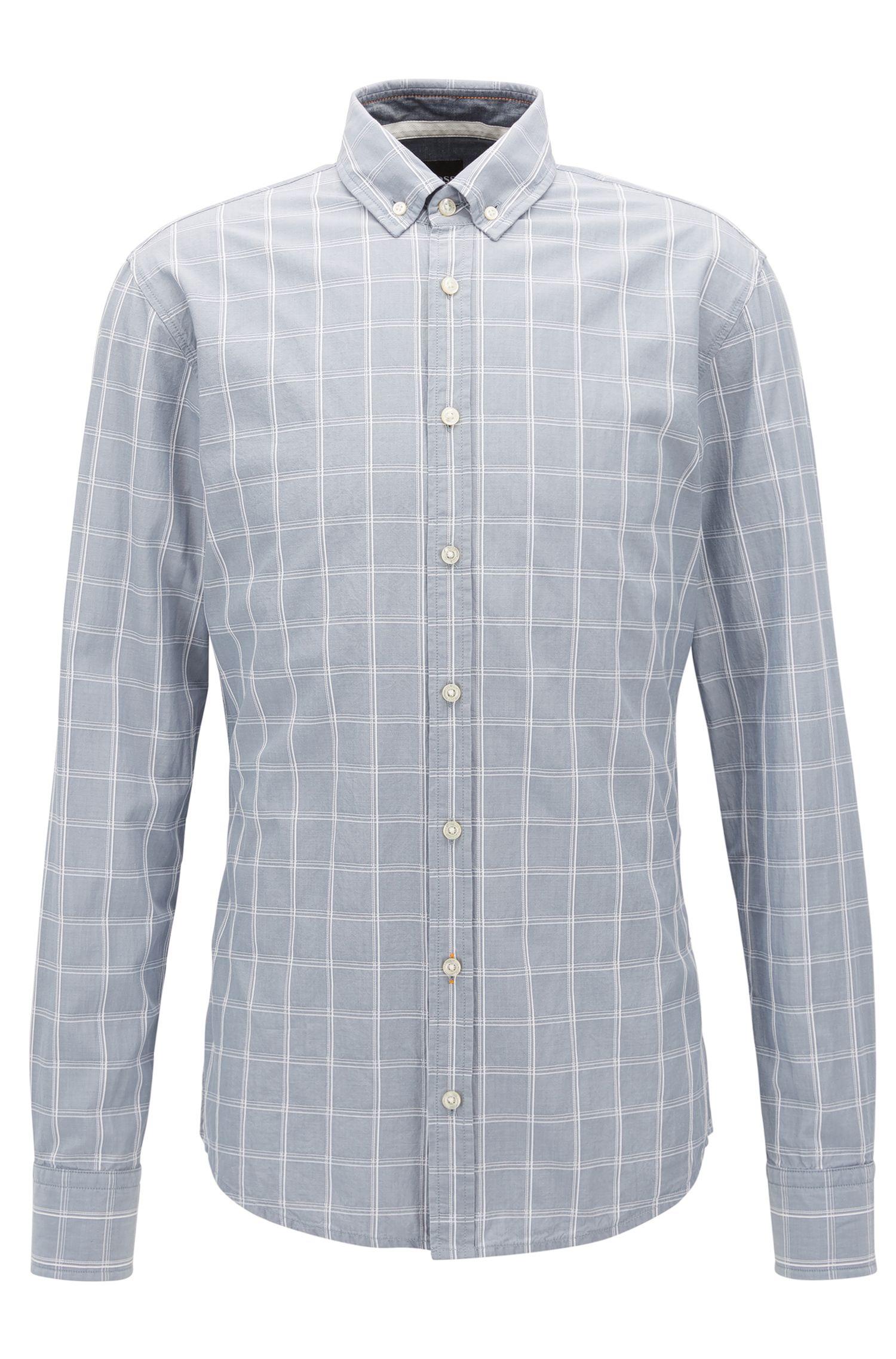 Chemise Slim Fit en coton façonné à motif prince-de-galles
