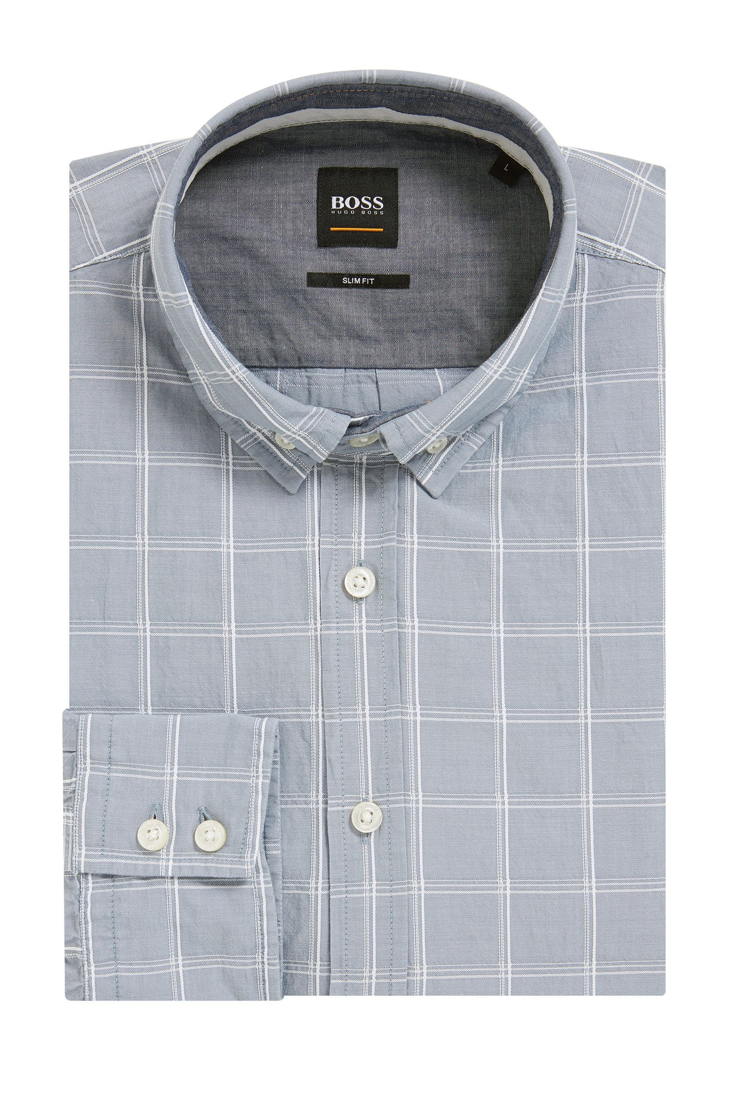 Slim-fit overhemd van dobbykatoen met prince-of-wales-ruit