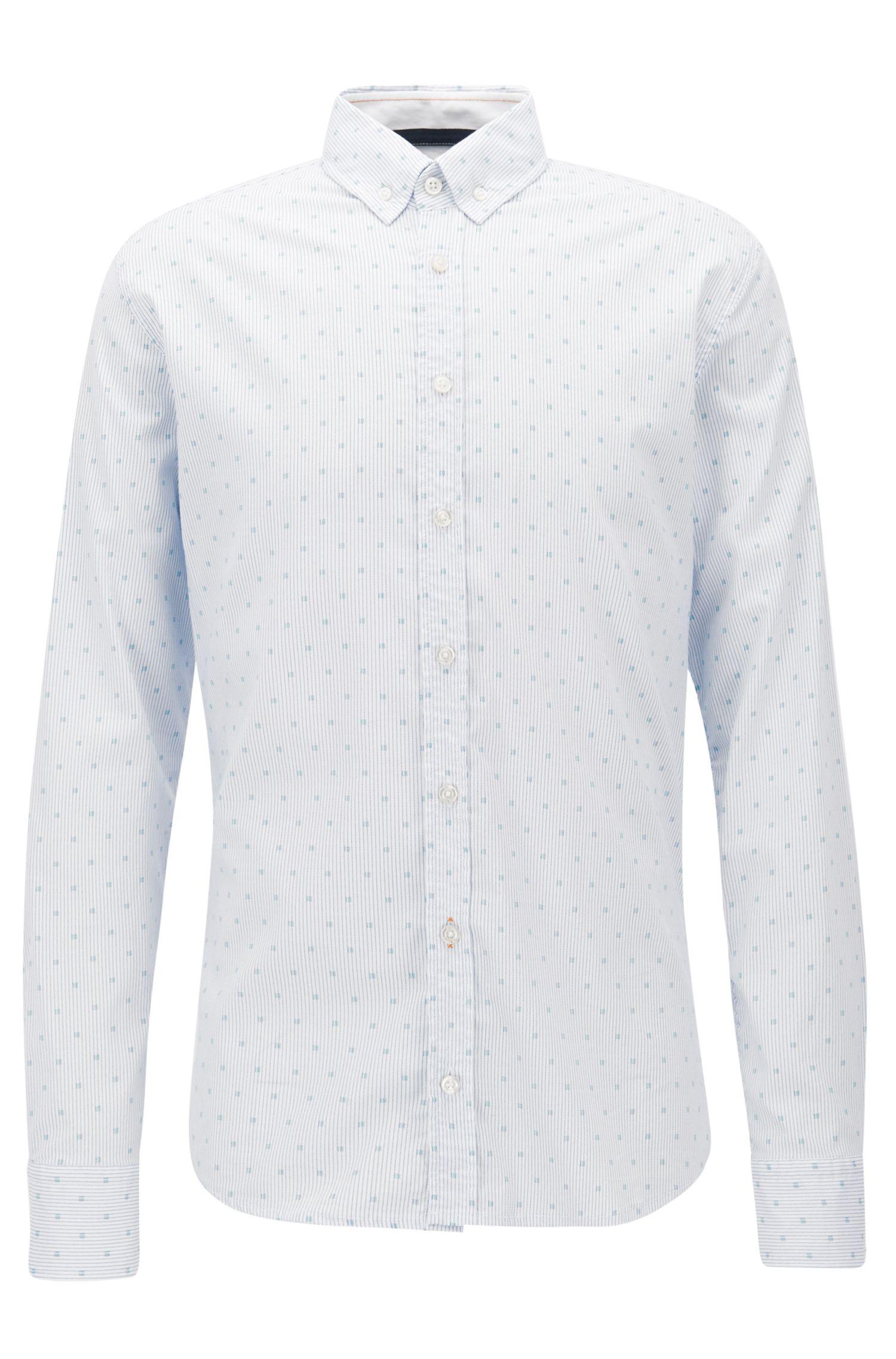 Camisa slim fit microestampada en popelín de algodón