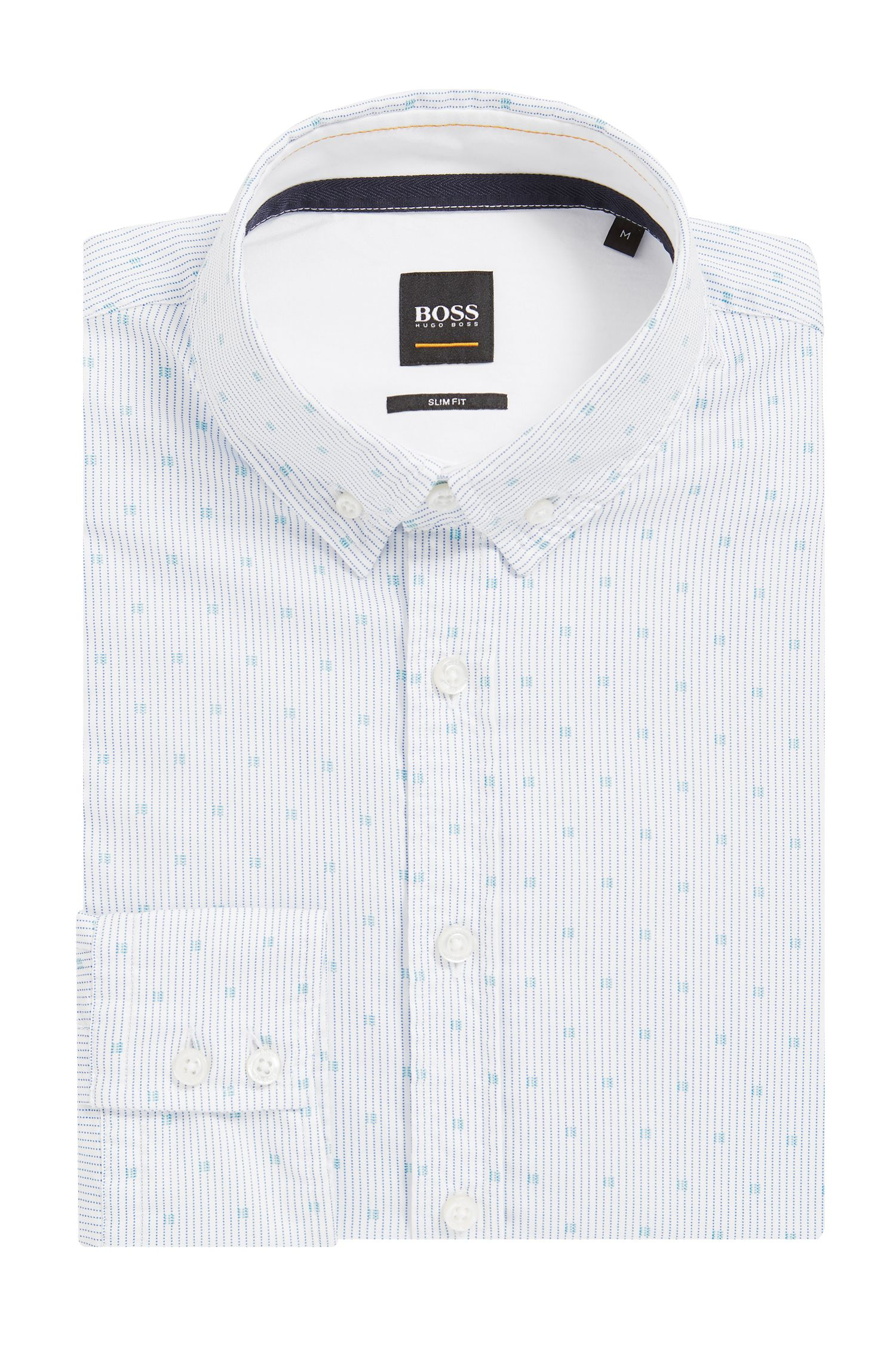 Slim-fit micro-print shirt in cotton poplin