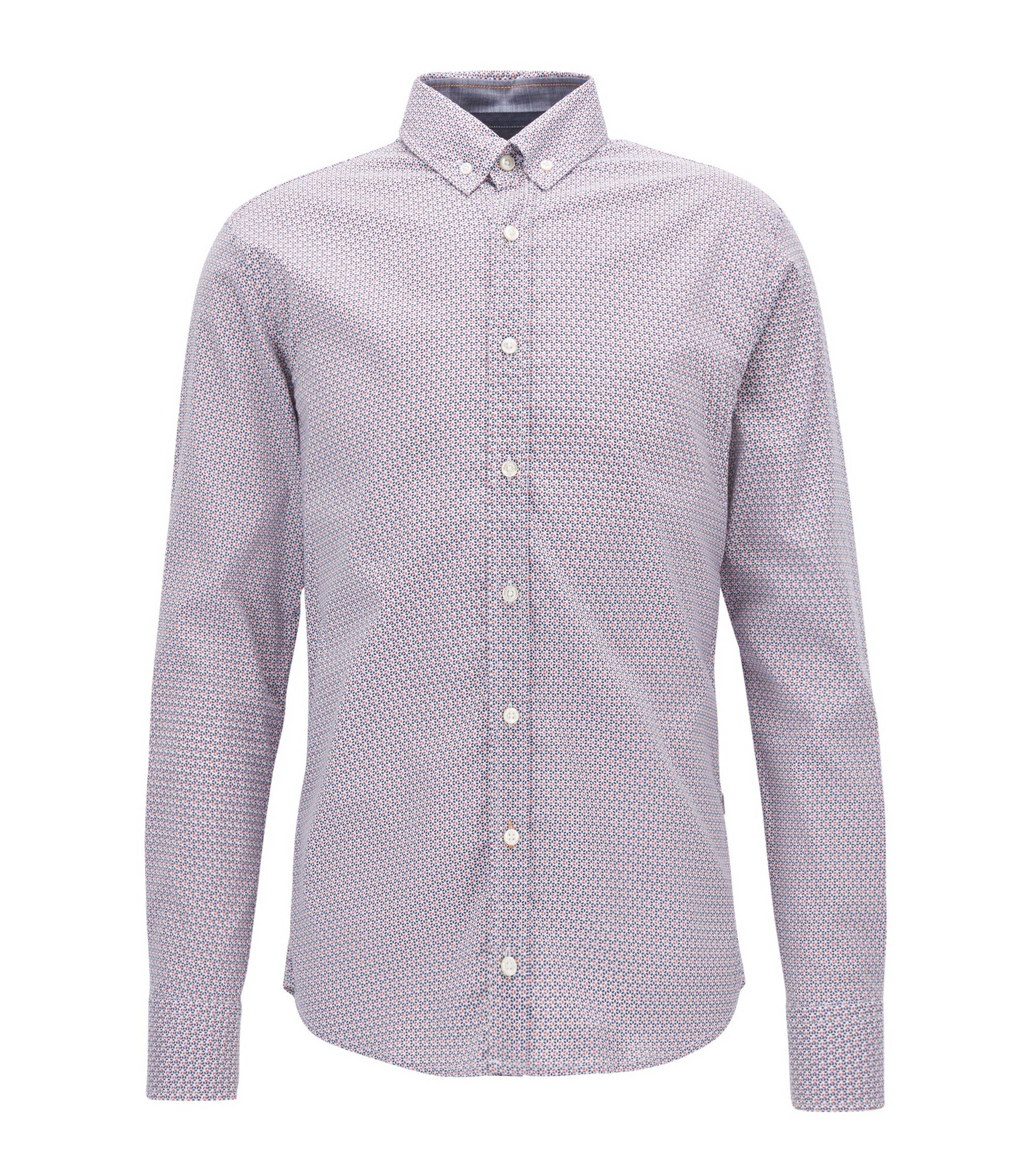 Camicia slim fit in popeline di cotone con microstampa, Blu scuro