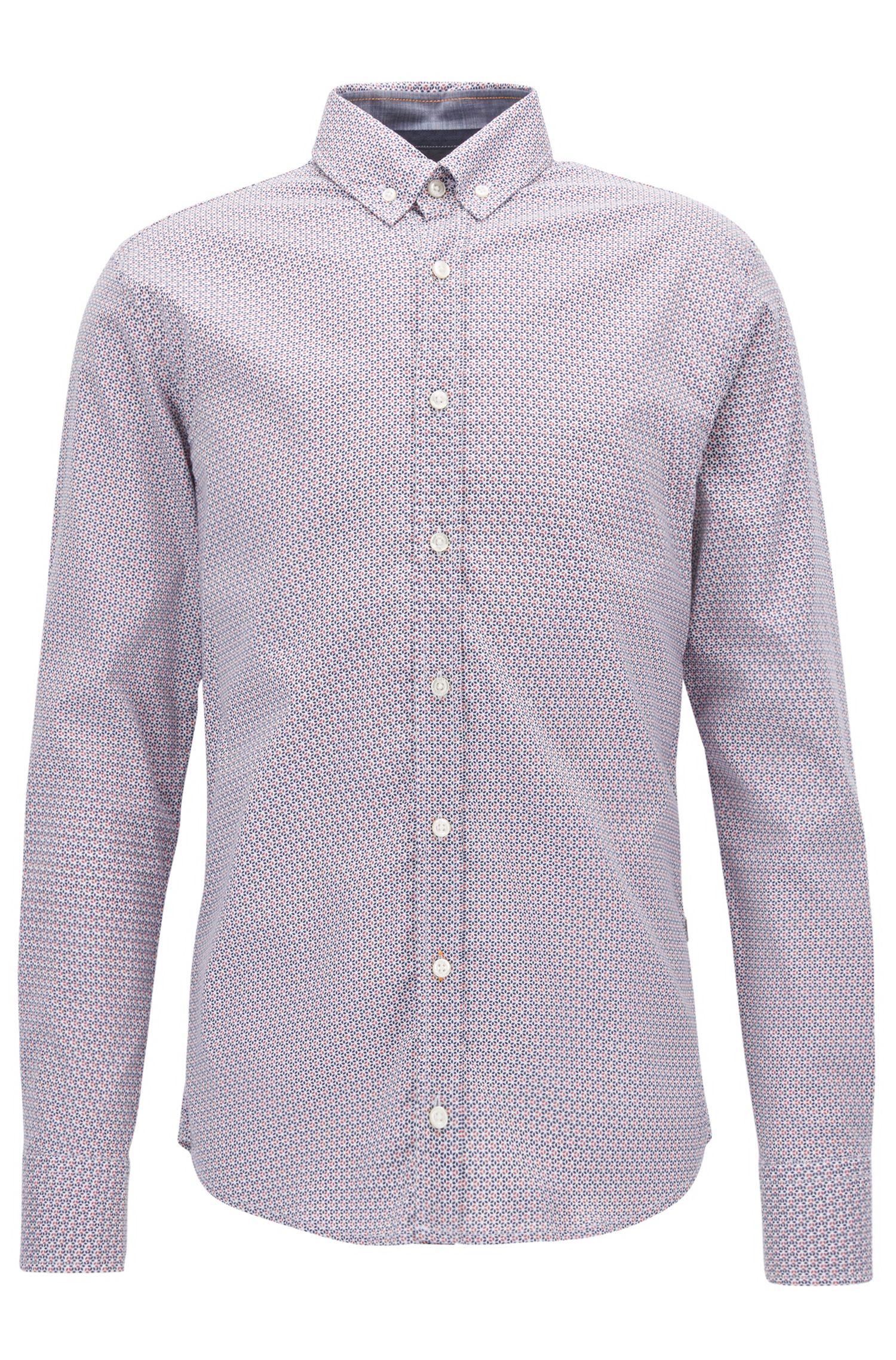 Camicia slim fit in popeline di cotone con microstampa