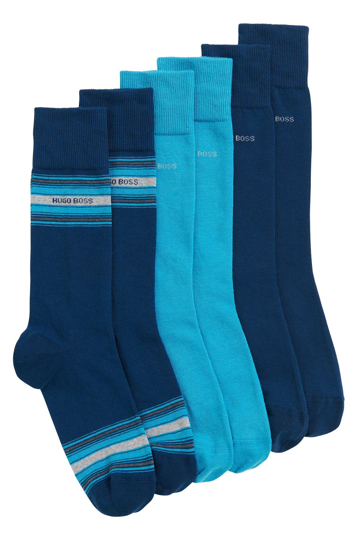 Lot de trois paires de chaussettes mi-mollet en coton mélangé