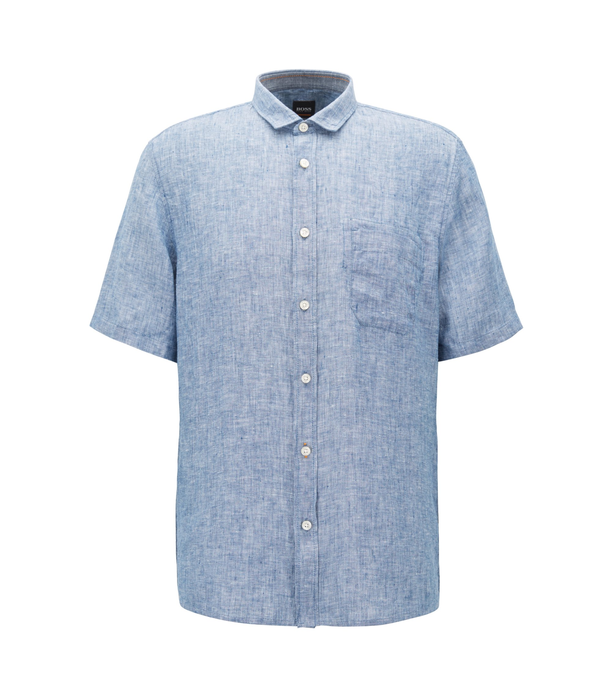Camicia slim fit a maniche corte in lino tinto in filo, Blu scuro