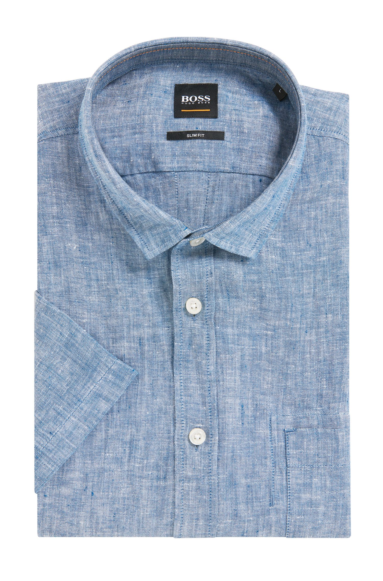 Slim-fit short-sleeved shirt in yarn-dyed linen