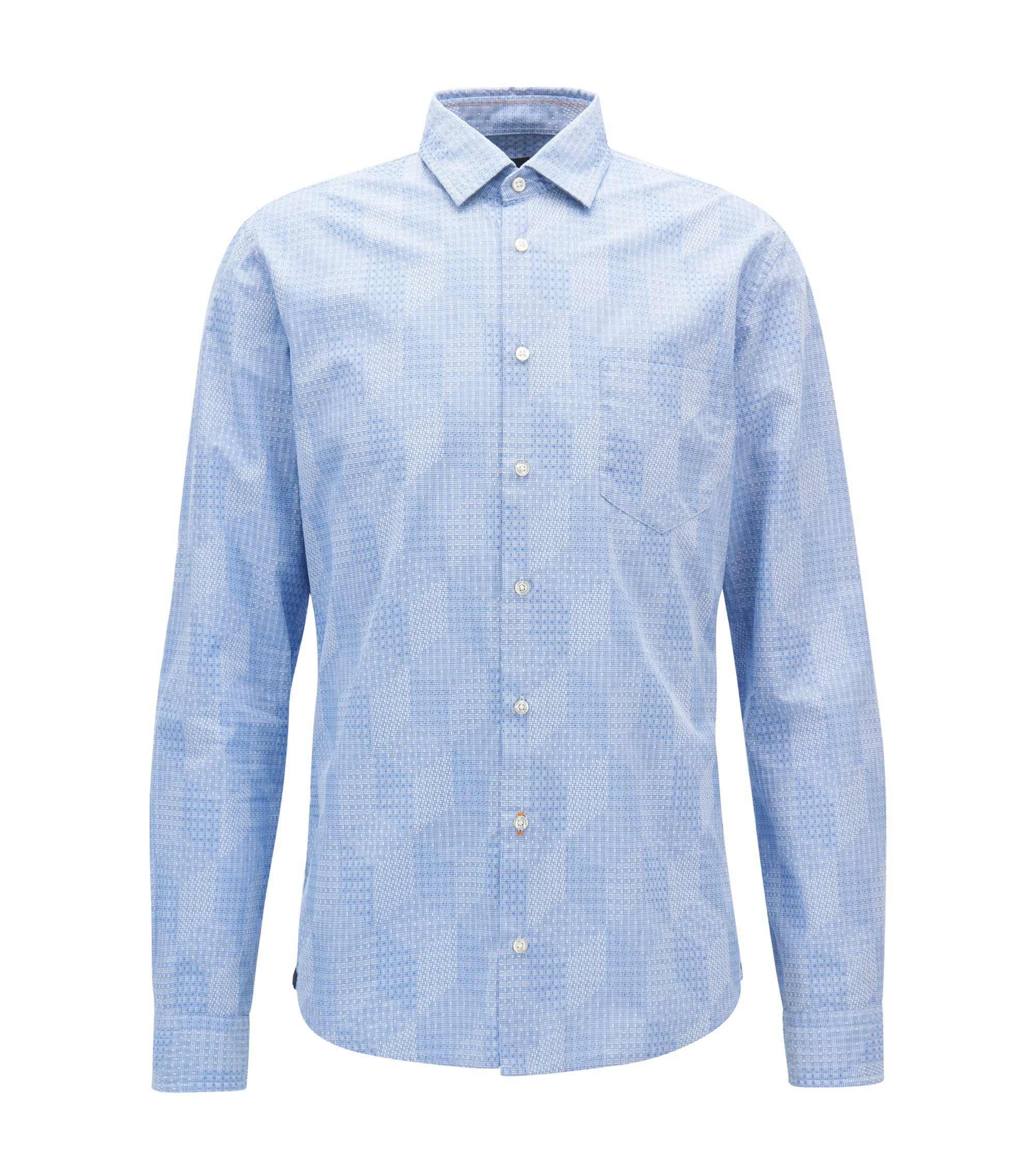 Slim-fit shirt with all-over dobby structure, Light Blue