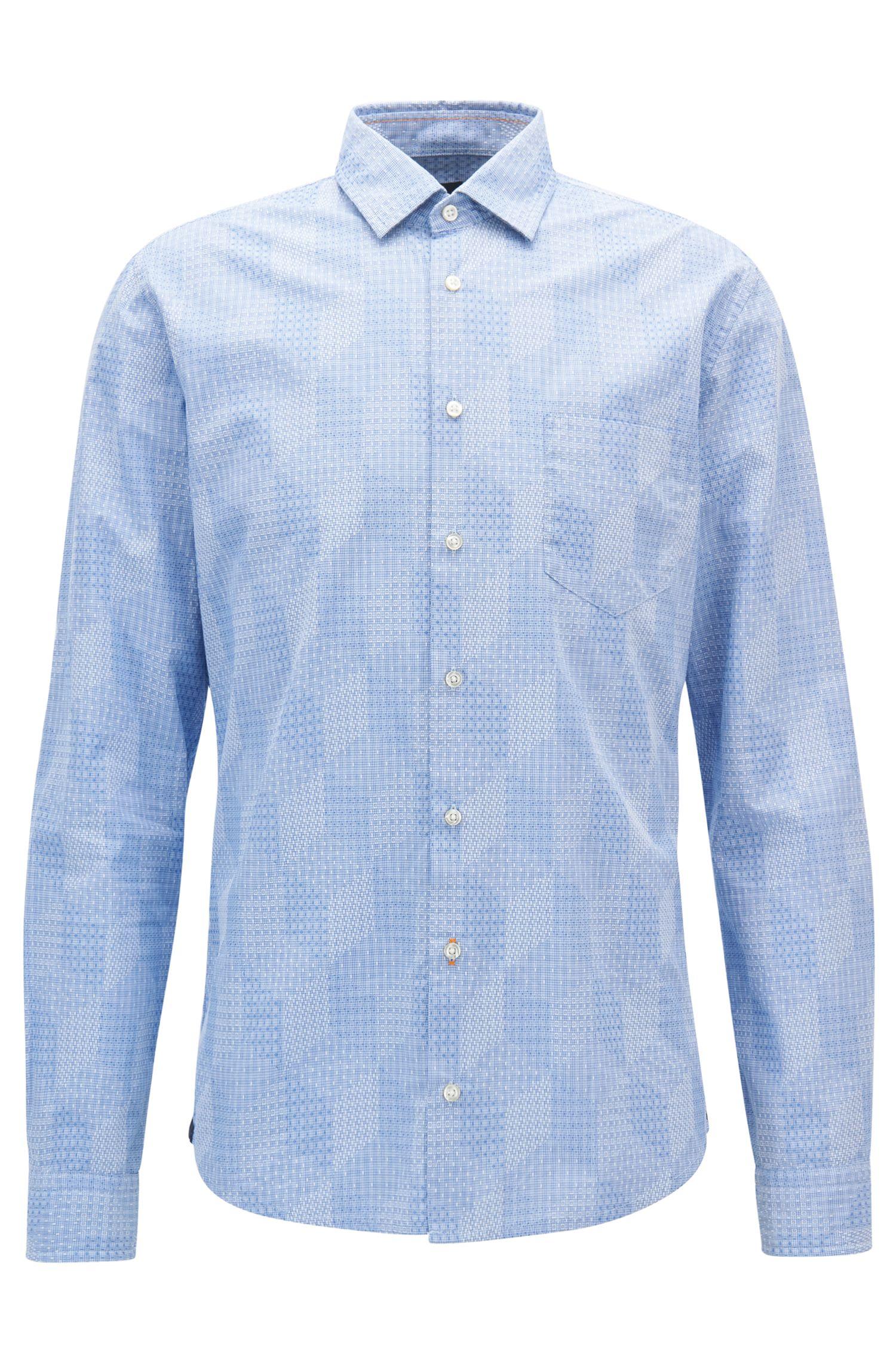 Camisa slim fit con estructura dobby integral