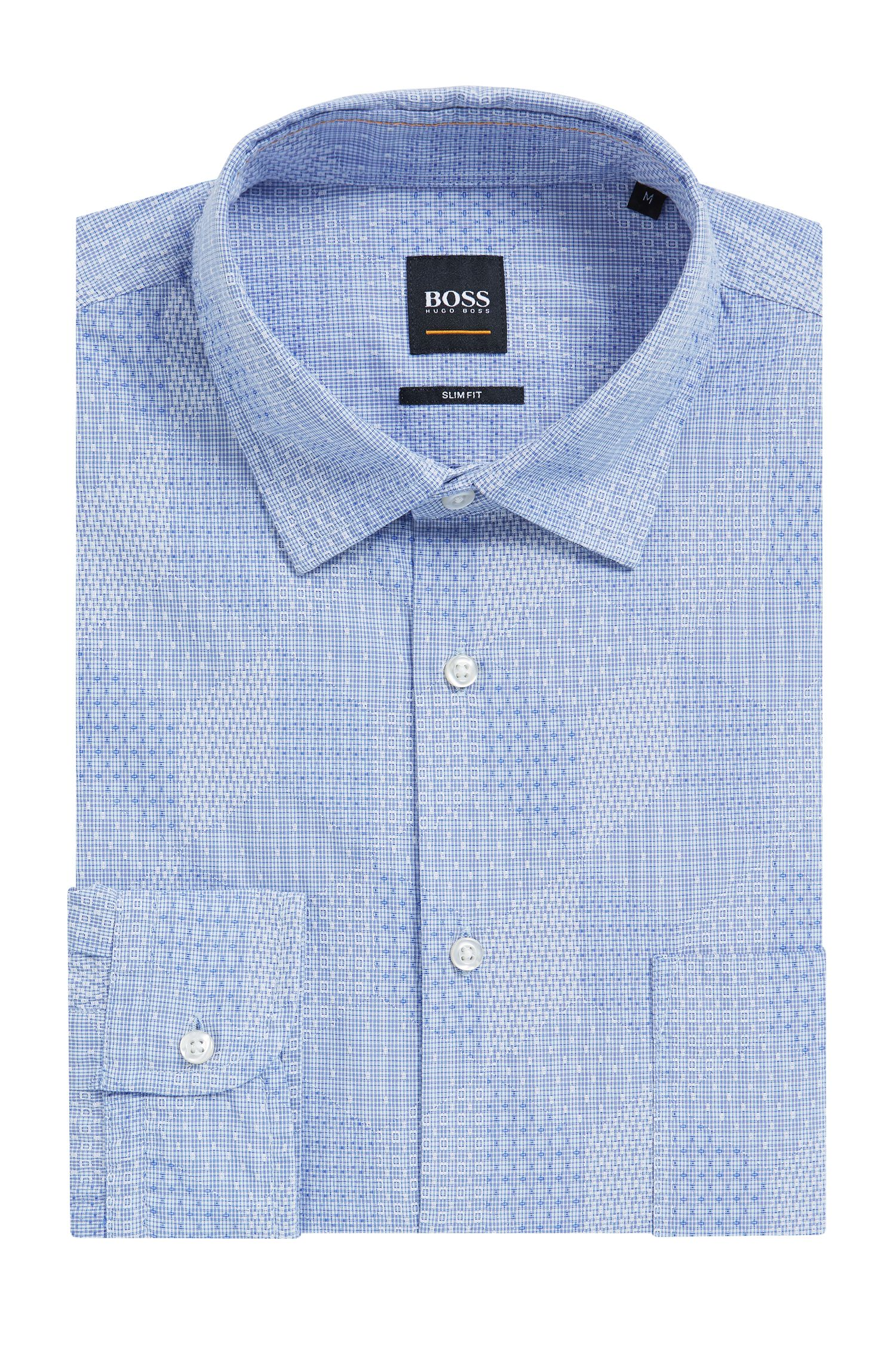 Slim-fit shirt with all-over dobby structure
