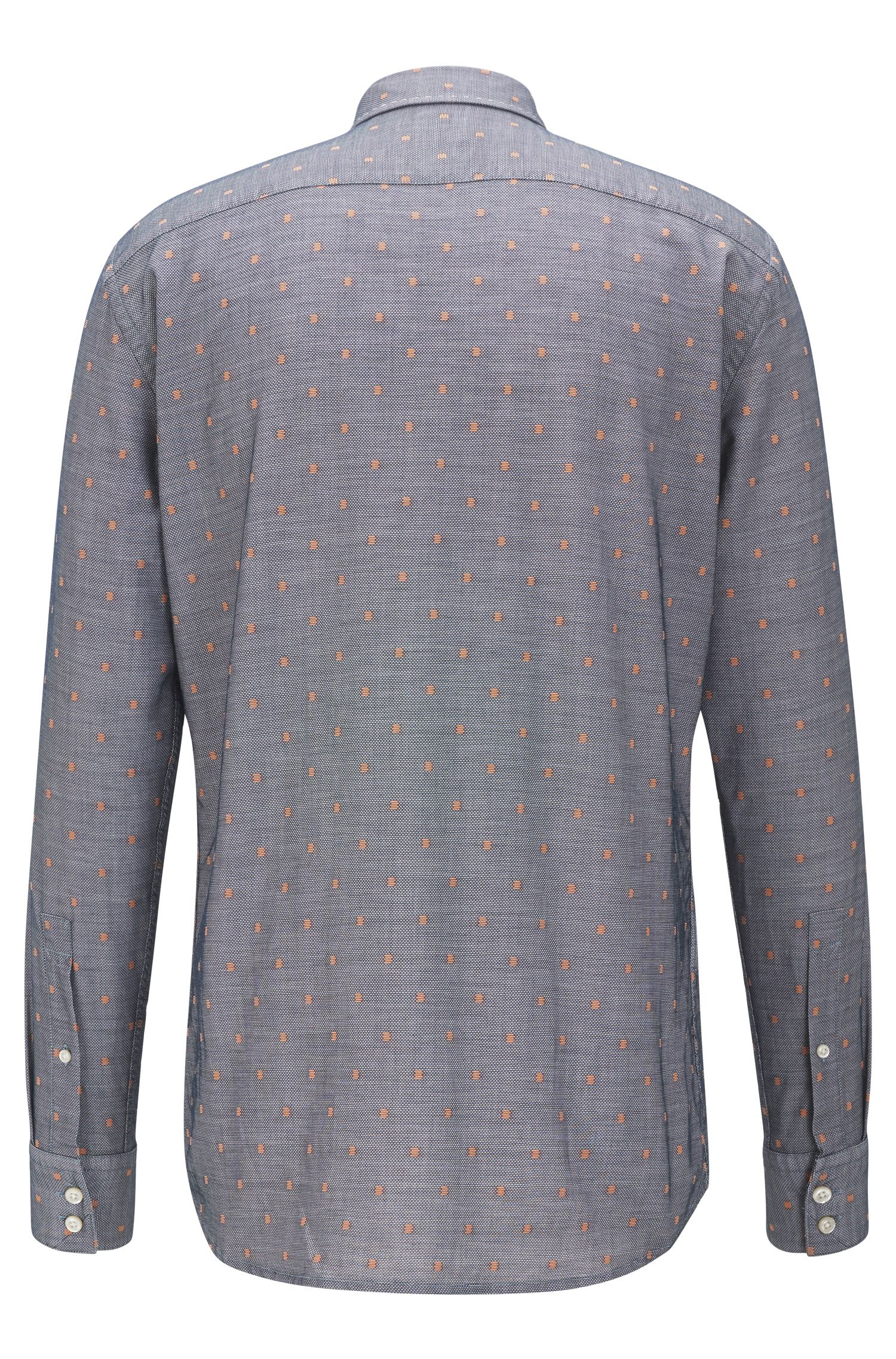 Chemise Regular Fit en coton avec motif en fil coupé contrastant