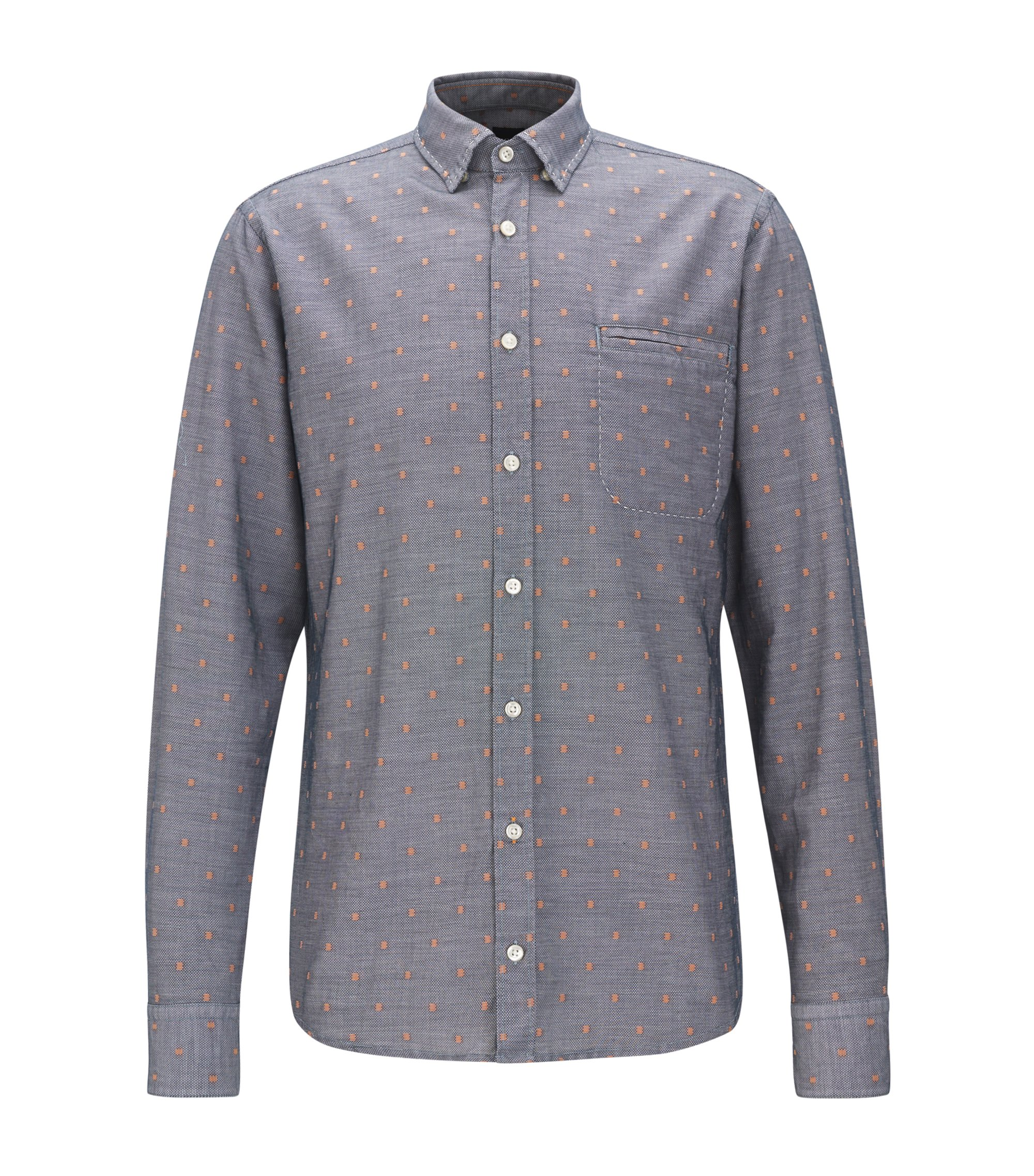Regular-fit cotton shirt with contrast fil coupé, Dark Blue