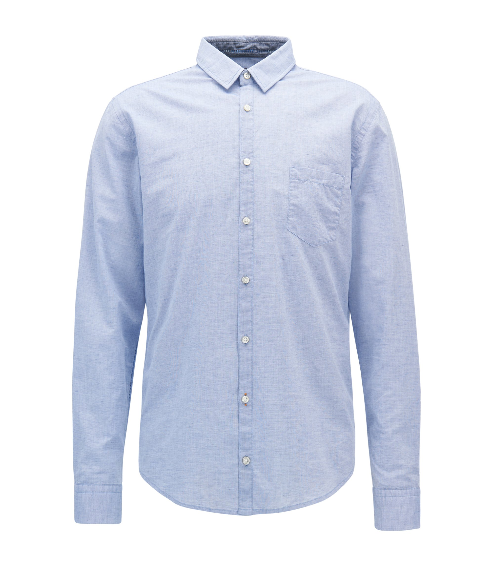 Slim-fit shirt in a structured cotton blend, Light Blue
