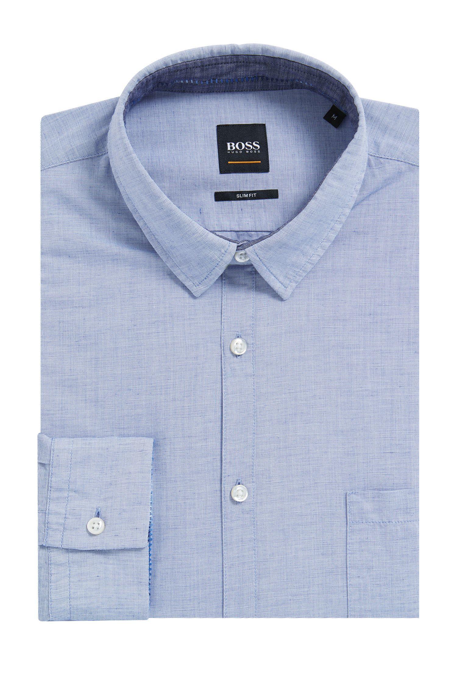 Slim-fit overhemd van een katoenmix met textuur