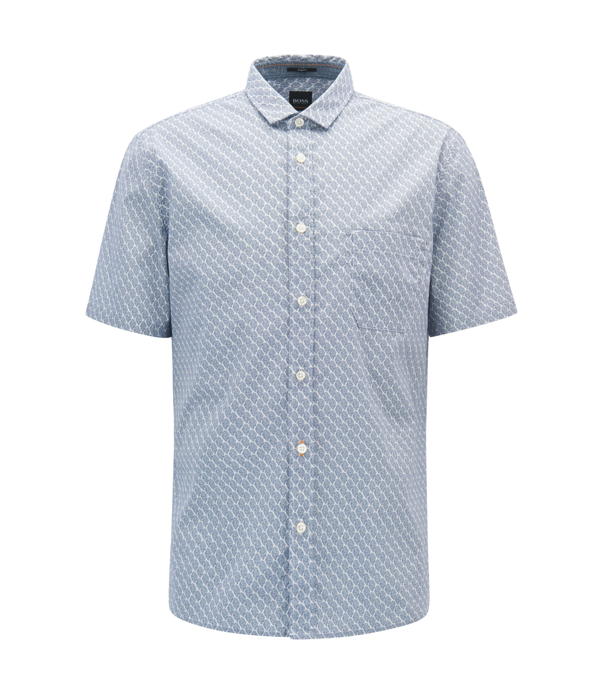 Slim-fit patterned shirt in stretch cotton, Blue