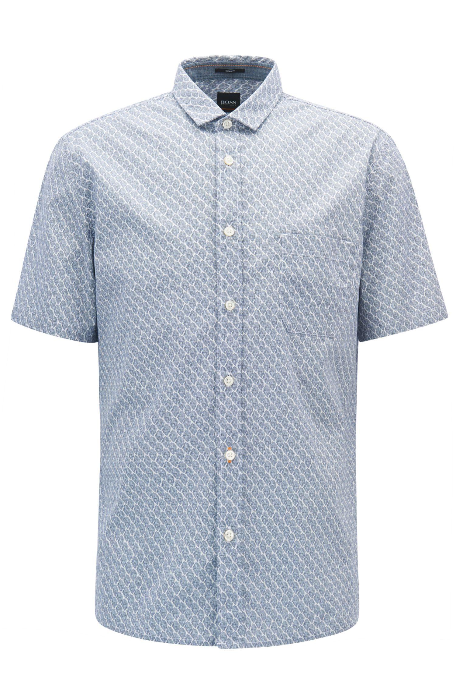 Camicia slim fit a disegni in cotone elasticizzato