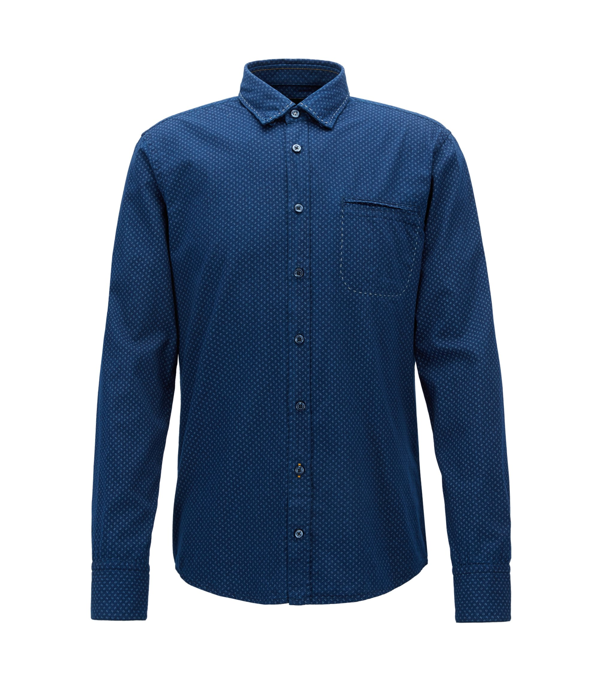 Camisa regular fit en cambray de algodón estampado, Azul oscuro