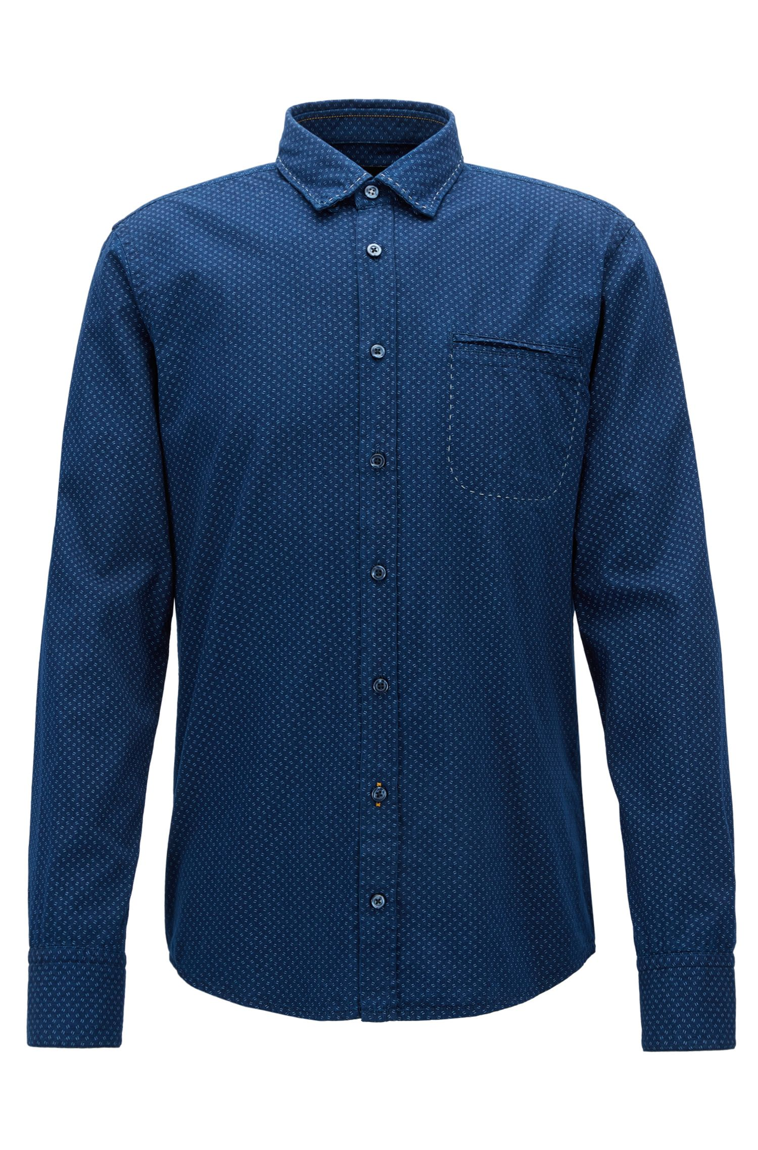 Regular-fit shirt in printed cotton chambray, Dark Blue