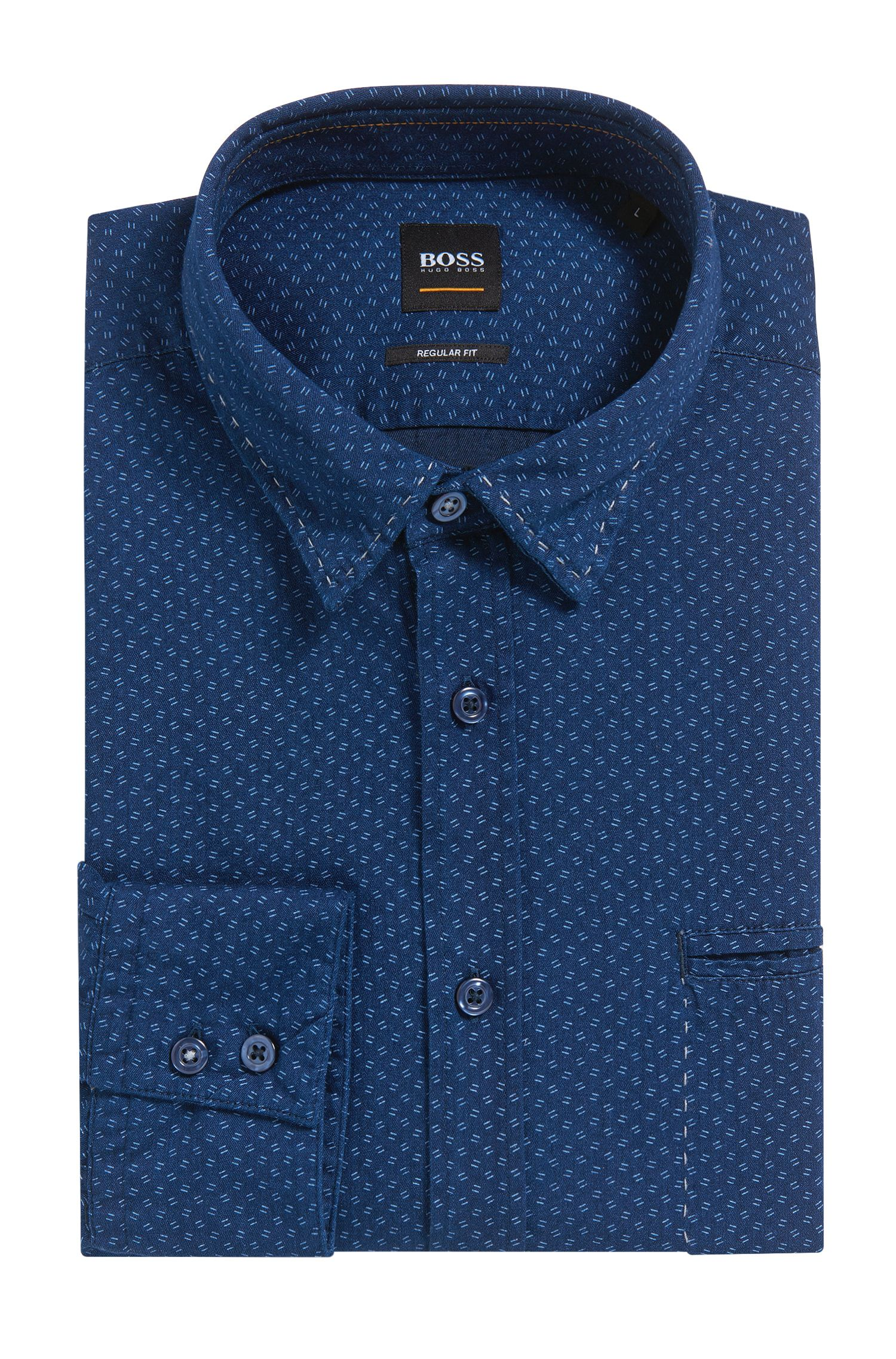 Camicia regular fit in cotone chambray stampato, Blu scuro