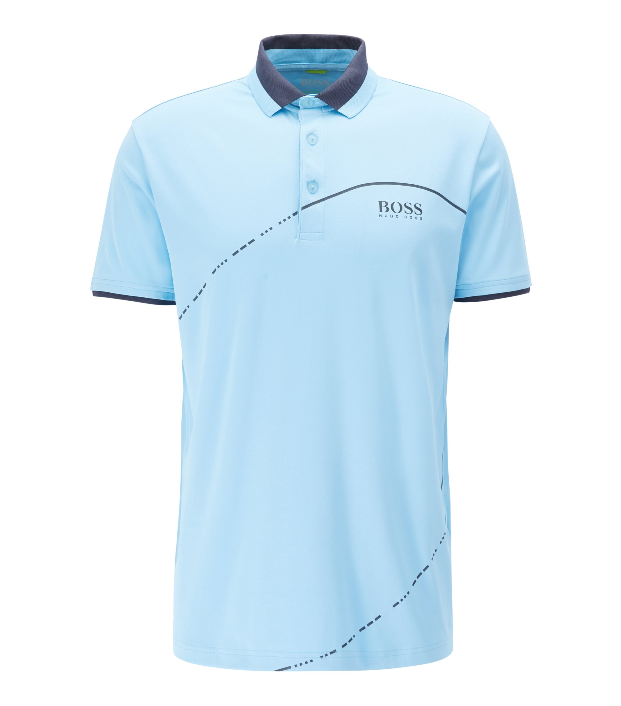 Polo shirt in technical fabric with S.Café®, Light Blue
