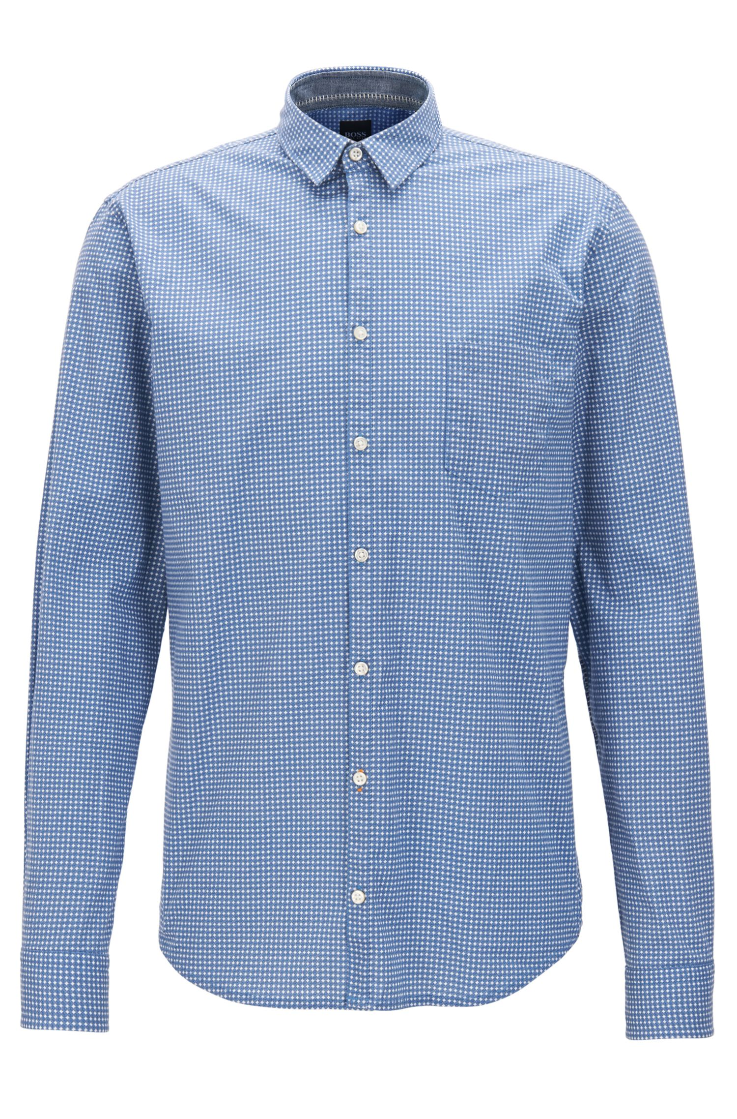Camisa slim fit en algodón elástico con estampado